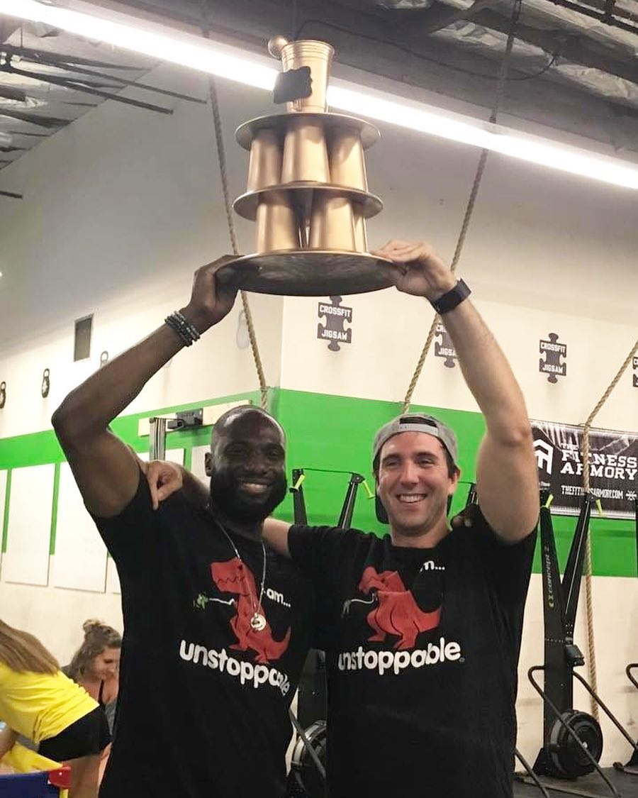 Randy and Hunter, 2017 winners of the one arm toss tournament
