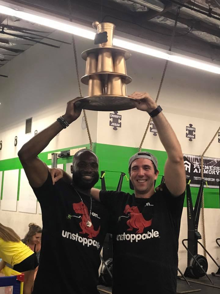 Hunter and Randy winning the 1-Arm toss tournament in 2017