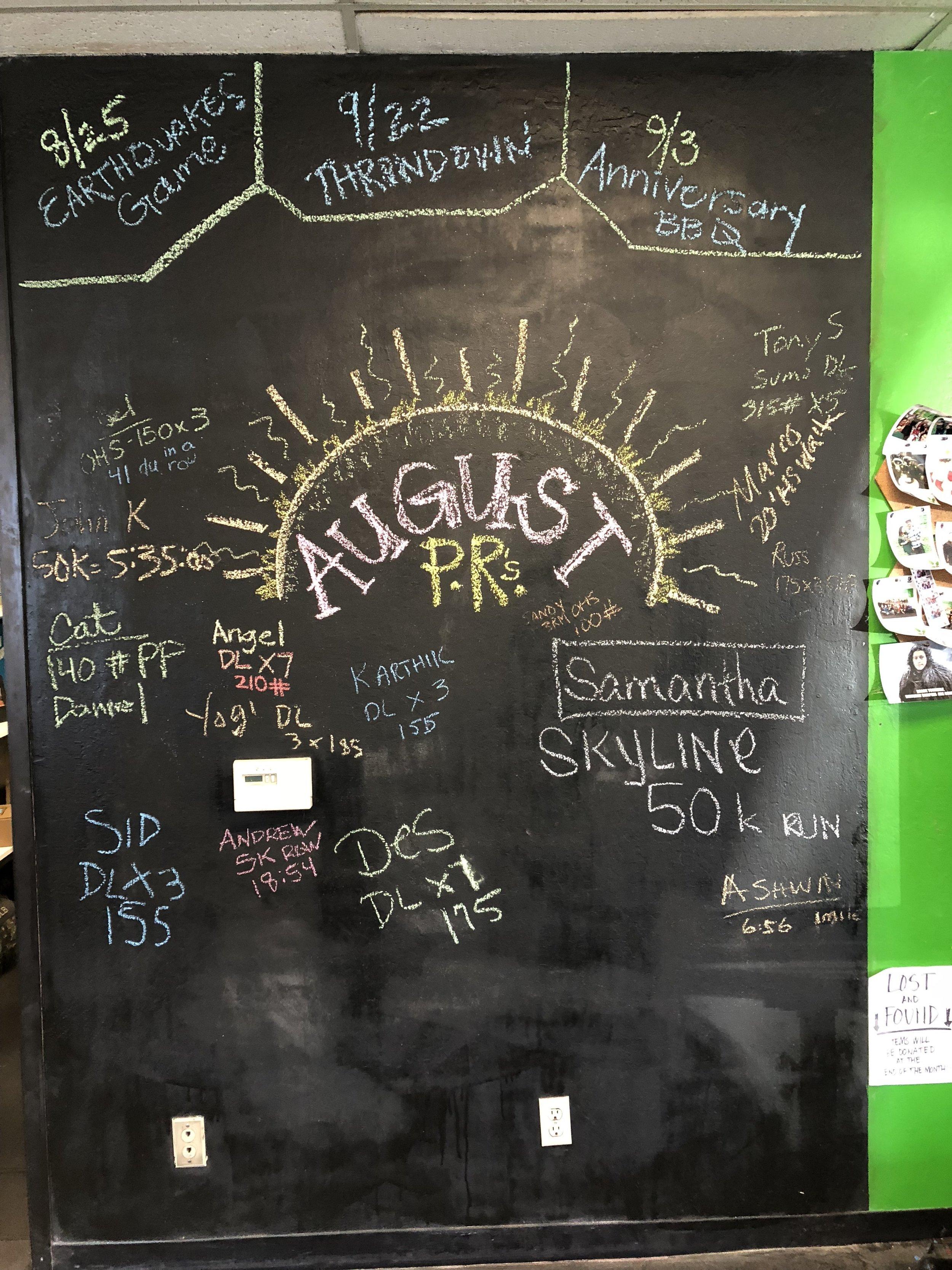 August 2018 PR board