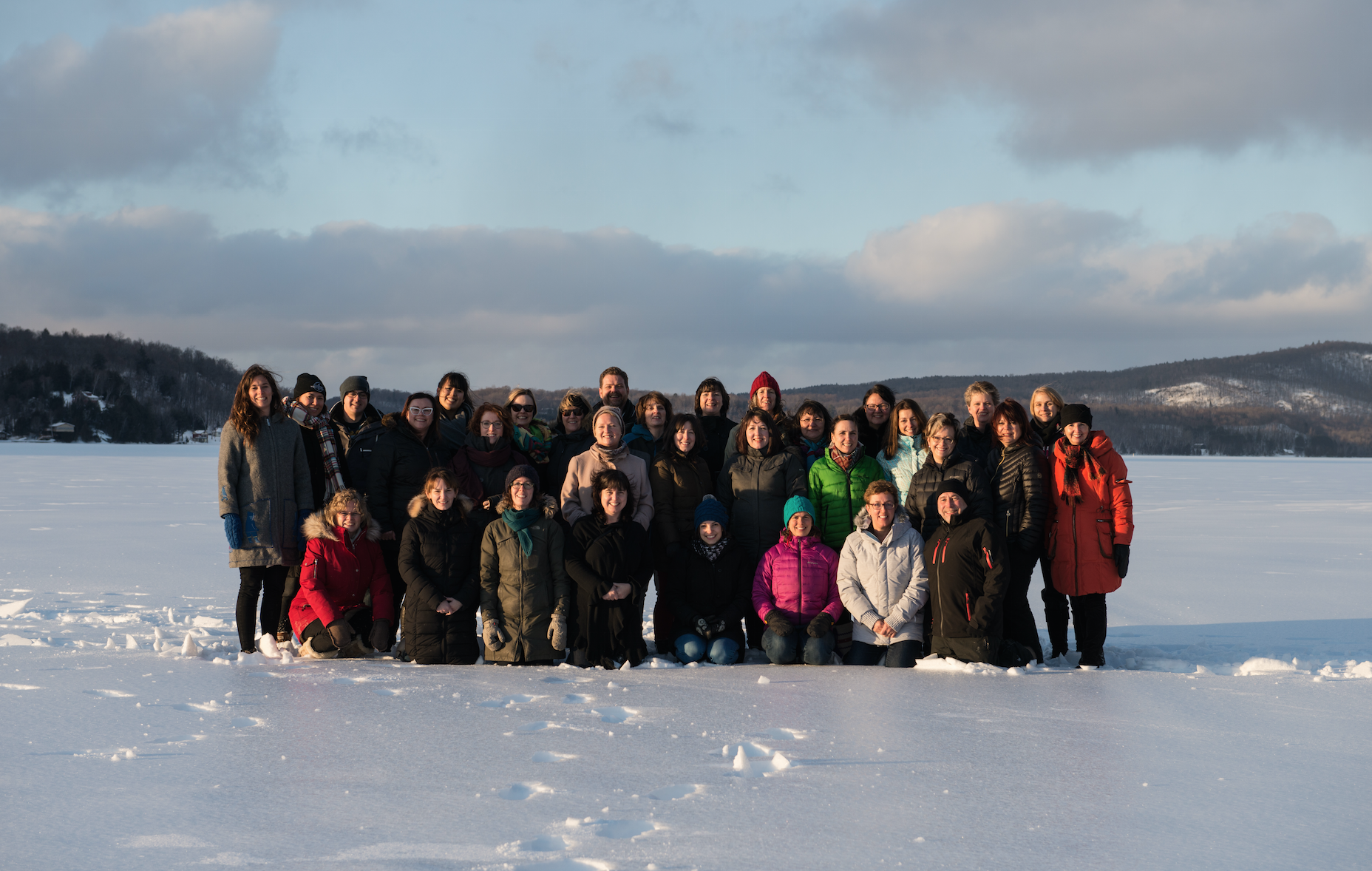 The cohort and advisors pictured out on snowy Lac MacDonald, near the Kanesatake First Nation, in rural Quebec.