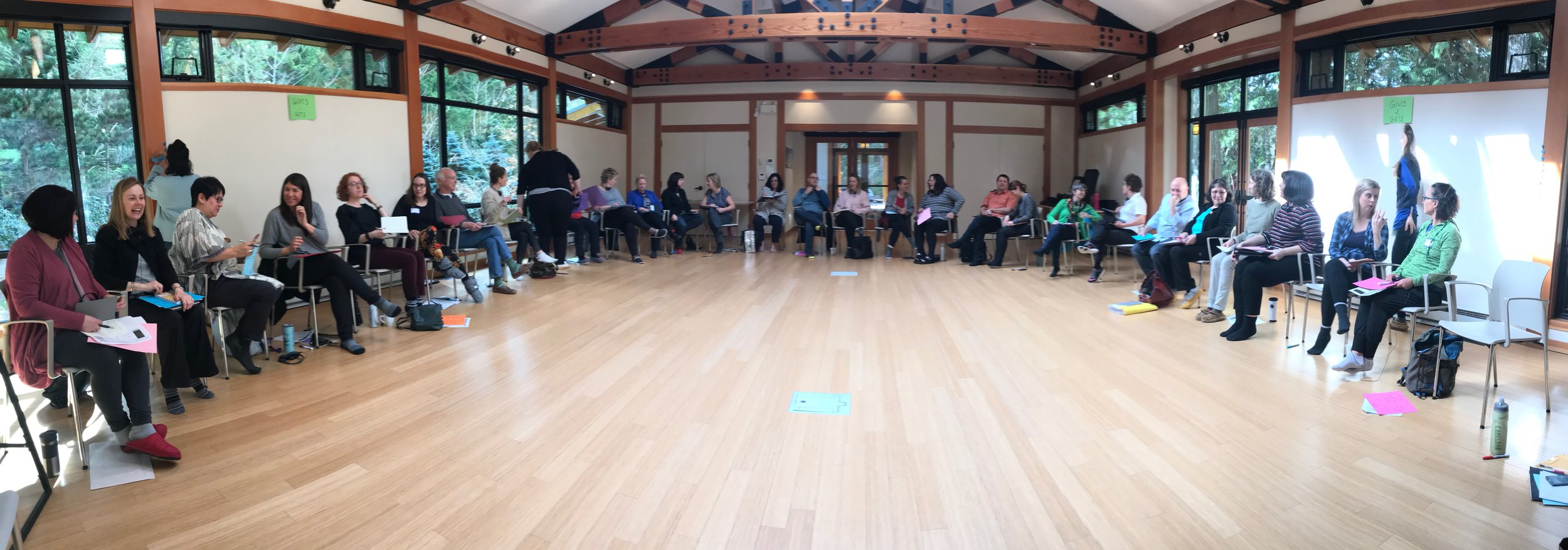 Gathering together for the opening circle to kick off the Nourish retreat.