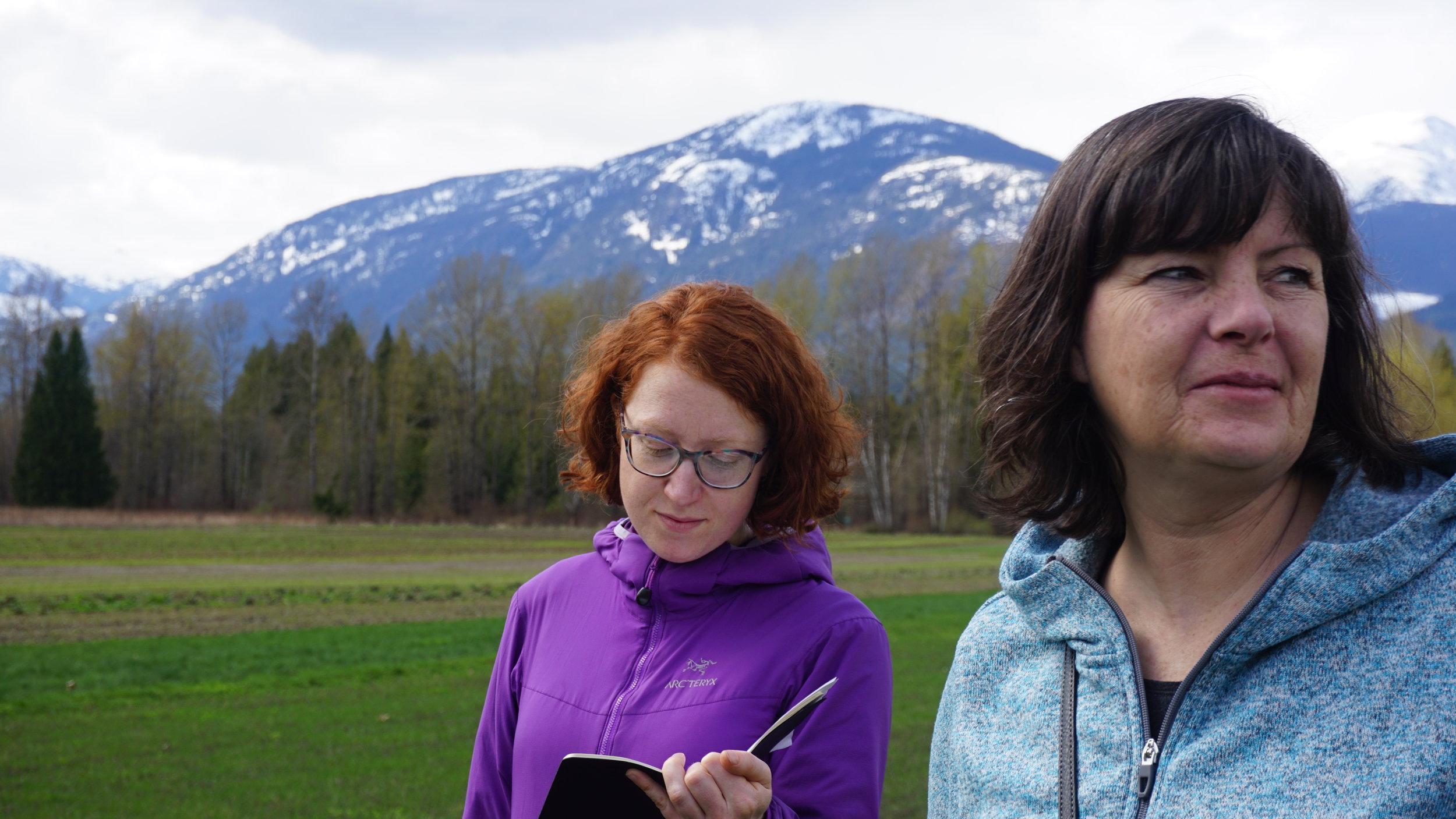 Nourish innovator Tessie Harris and Nourish advisor Wendy Smith visit North Arm organic farm.