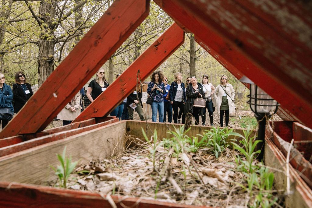 Des participants et participantes font une visite expérientielle de la Black Creek Community Farm.
