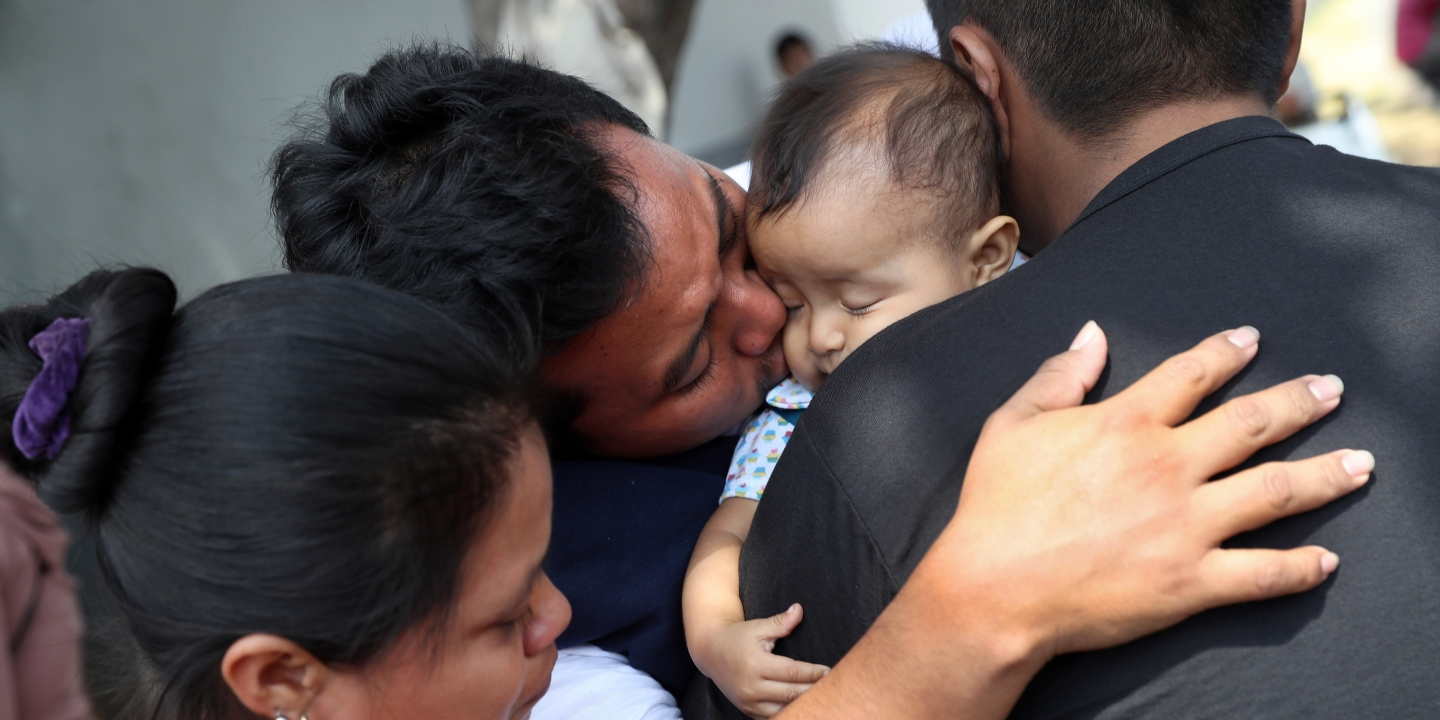 Guatemalan deportee Eric Perez kisses his daughter Kimberly after he arrived on an ICE deportation flight on Feb. 9, 2017, to Guatemala City, Guatemala. The charter jet, carrying 135 deportees, arrived from Texas.Photo: John Moore/Getty Images