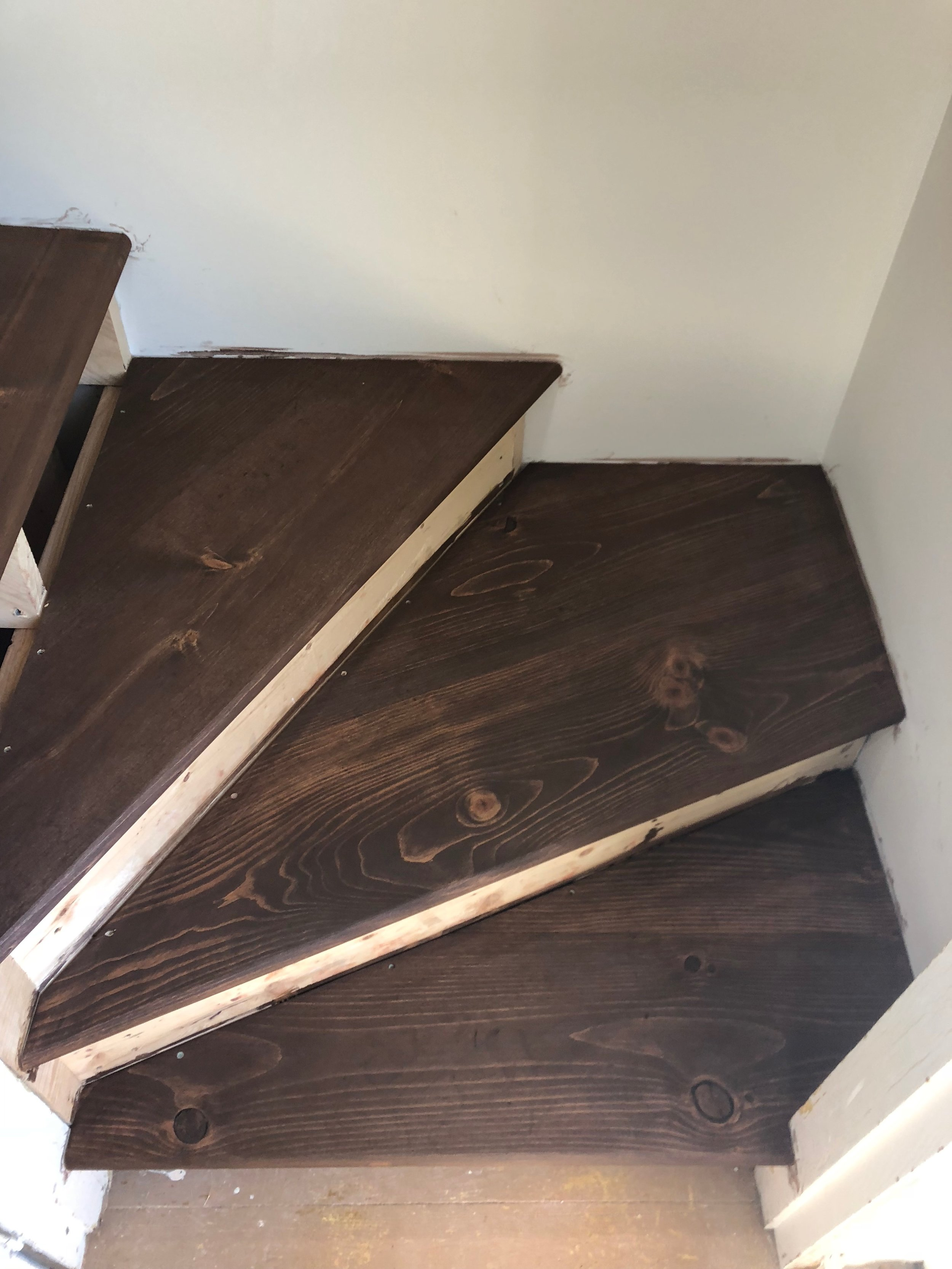 The loft stairs get stained