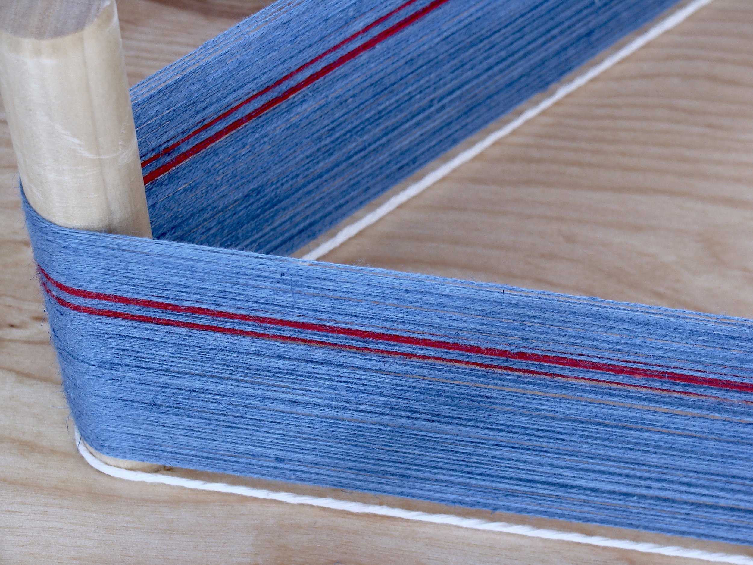 Greenlaw Tartan - section of warp (Balmoral blue and red)