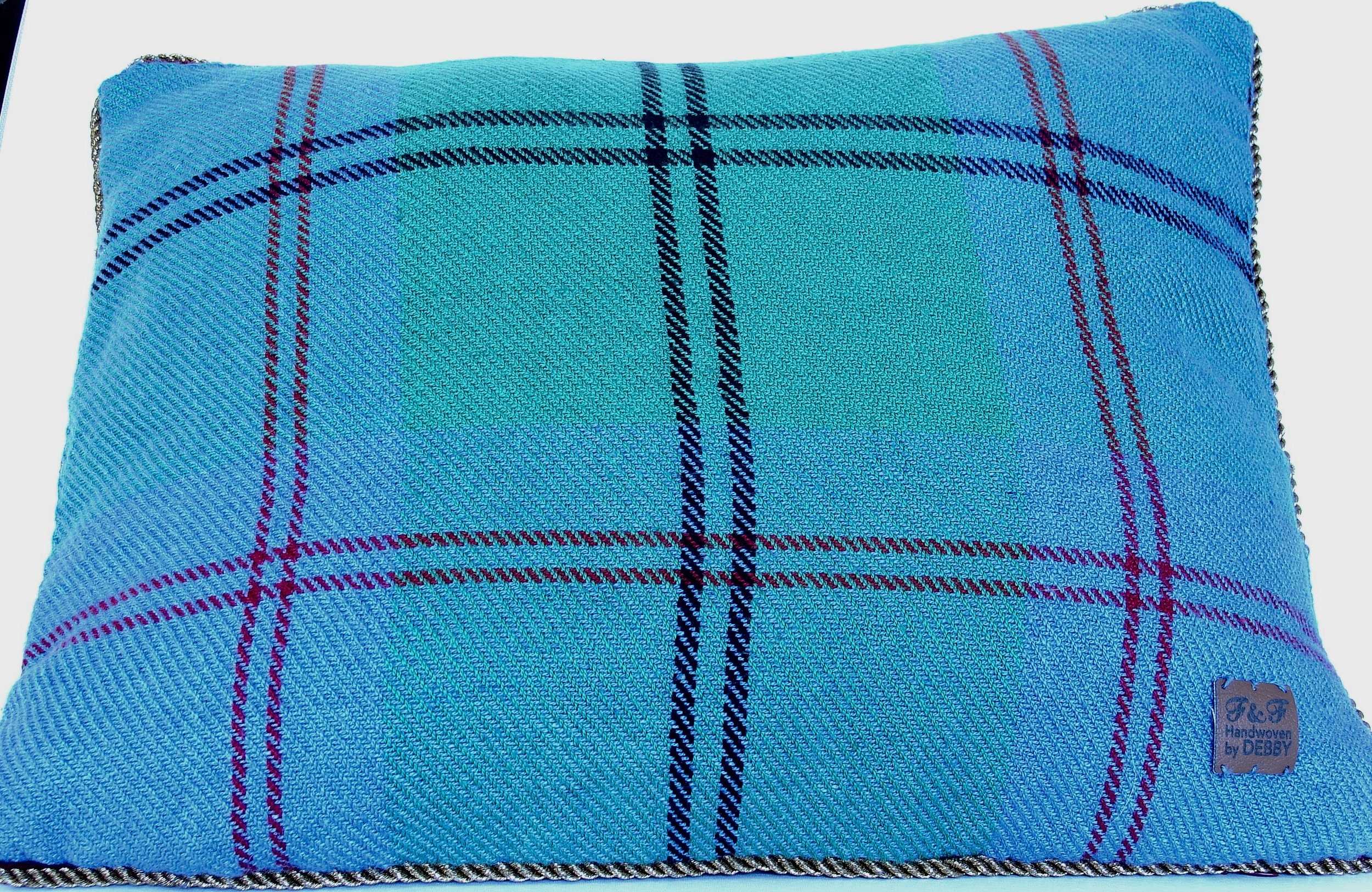 pillow cover I made with tartan fabric remnant - colors are not true on this photo