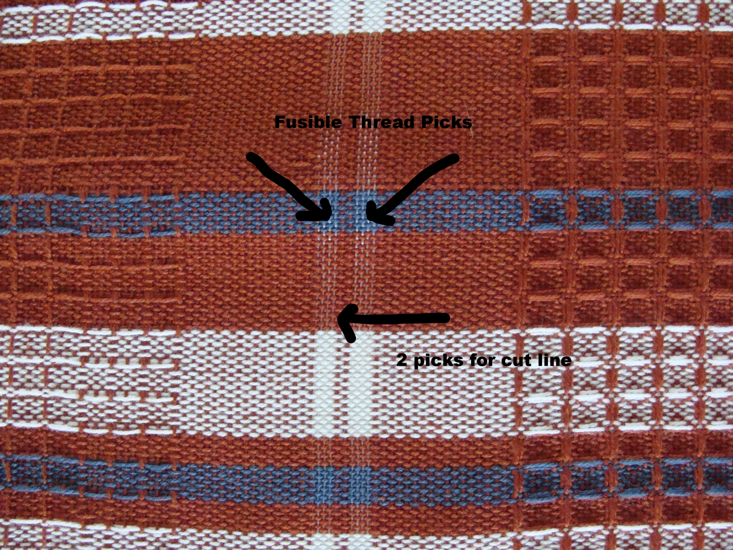 waffle weave towels - hemming with fusible thread