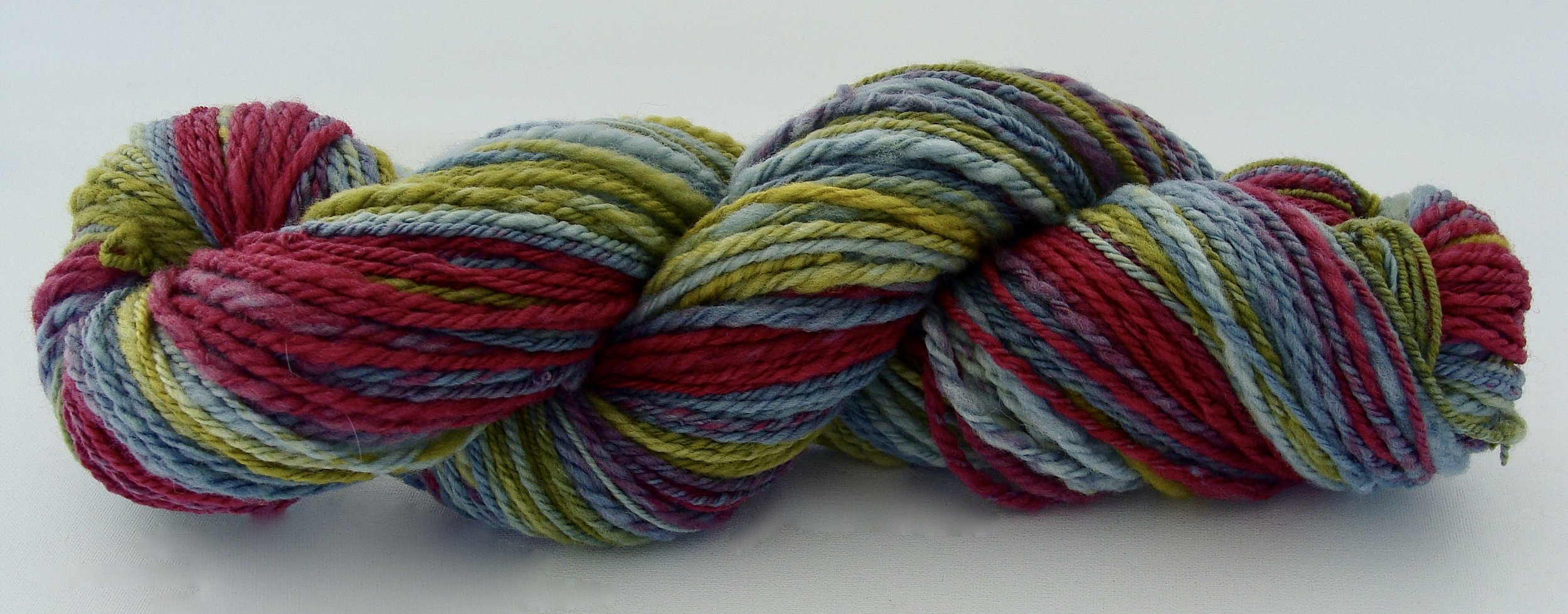 1 skein of Merino wool Navaho plied for a total of 153 yards.