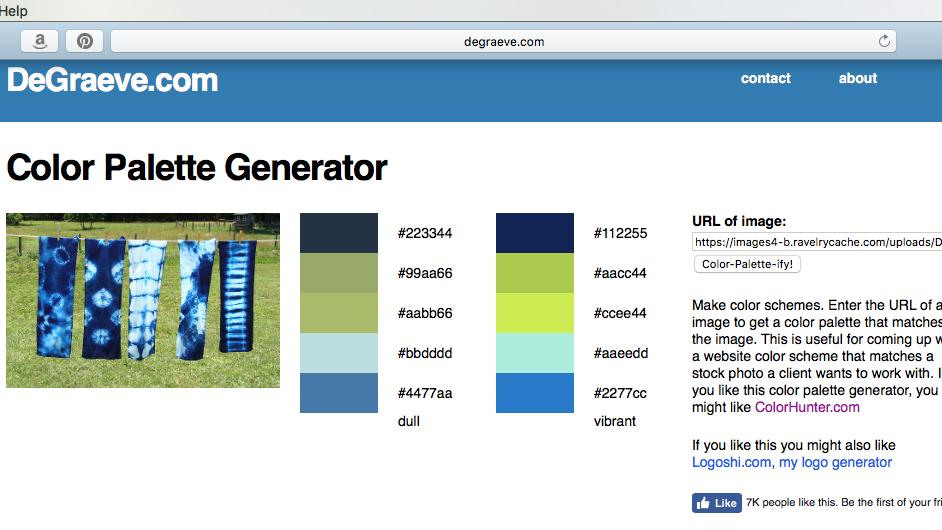 color palette from DeGraeve.com generator