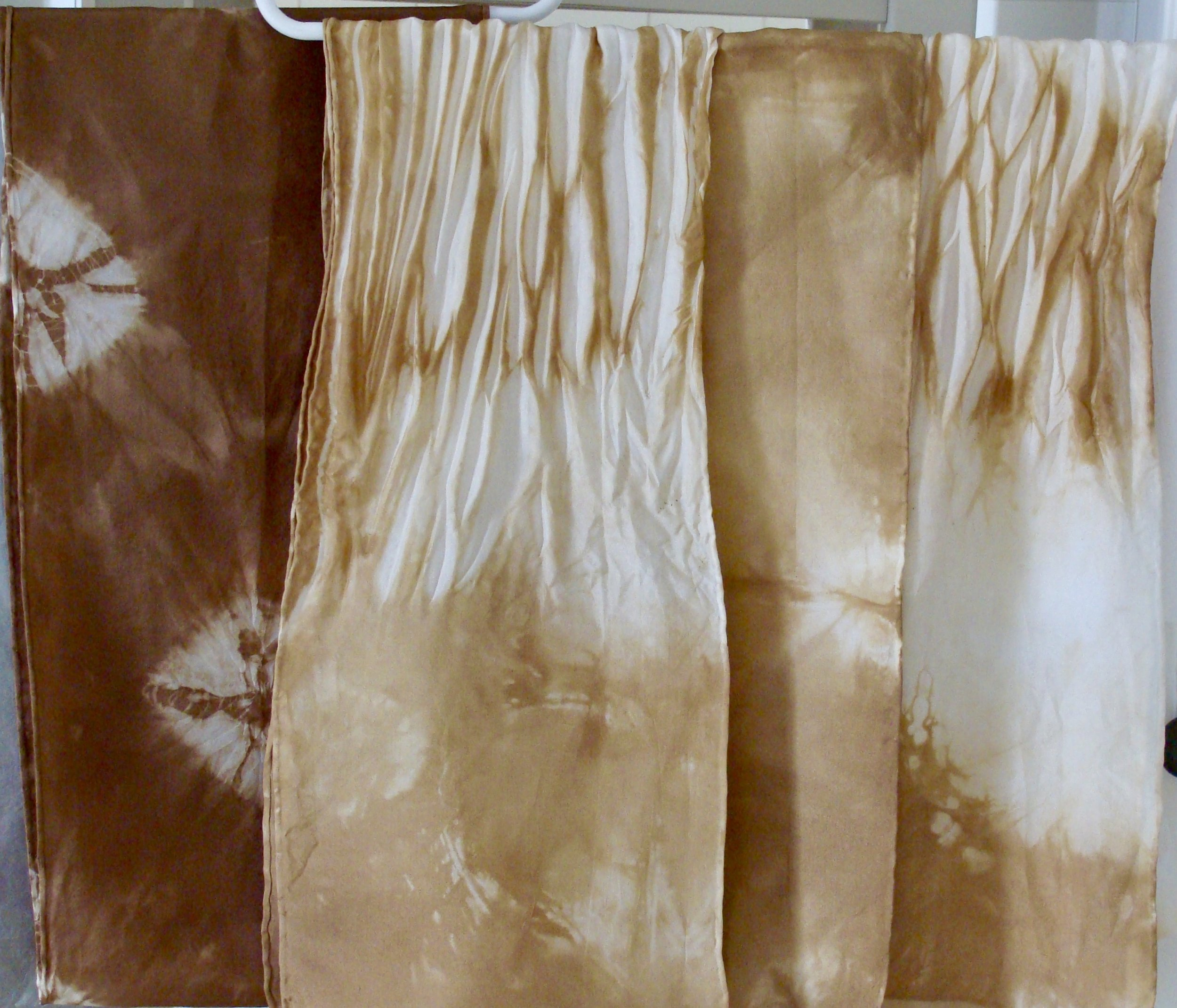 Hand-dyed silk scarves with black walnut