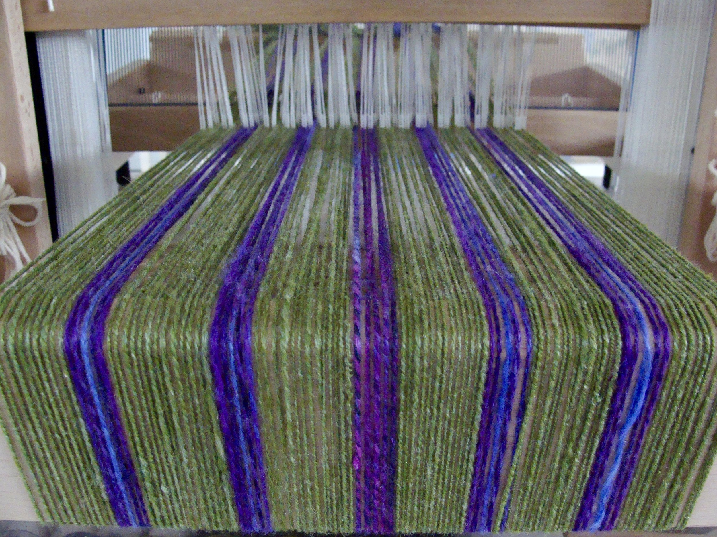 handspun merino/silk warp on Louet Jane loom