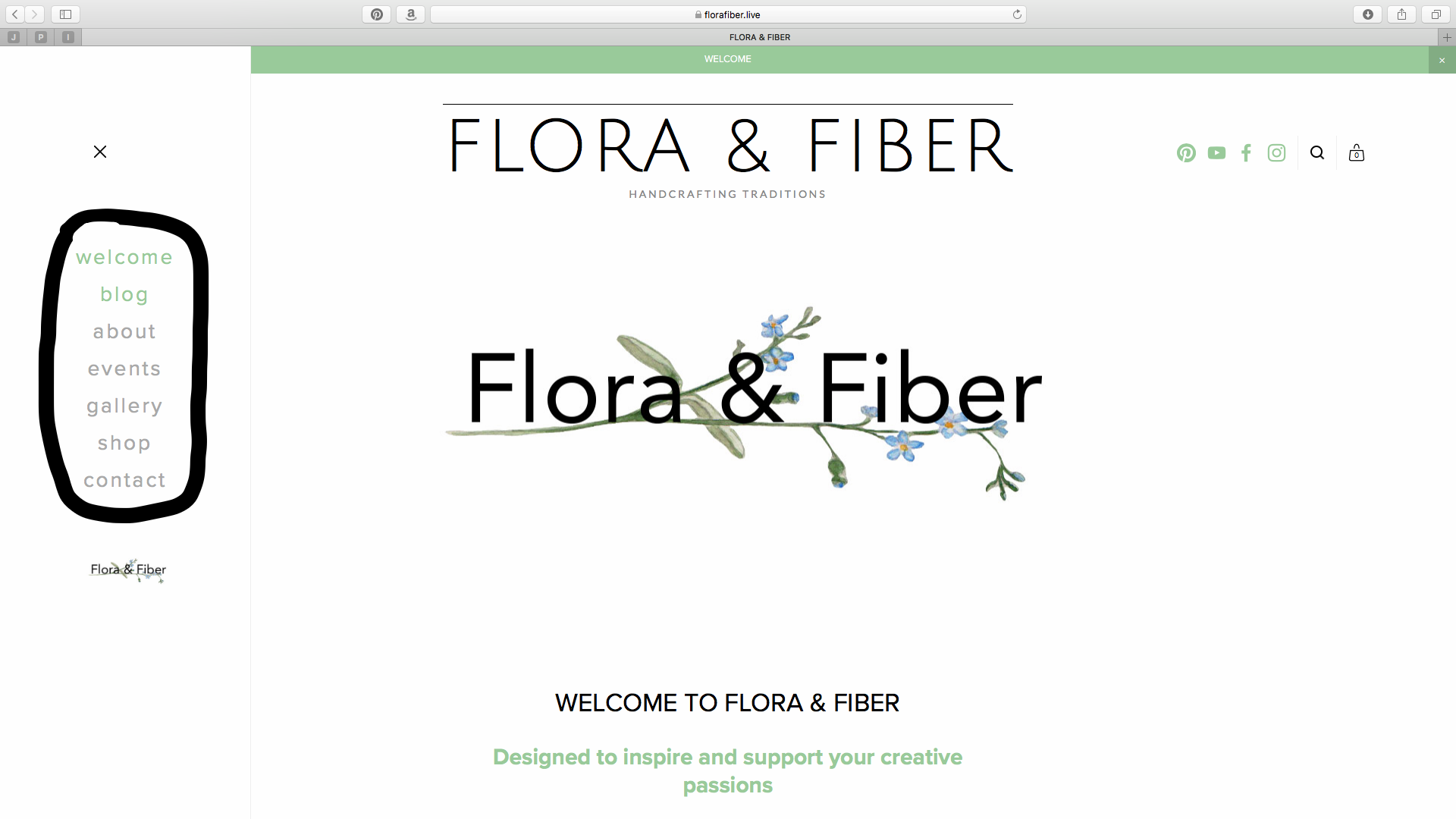 Flora & Fiber Welcome Page w/menu