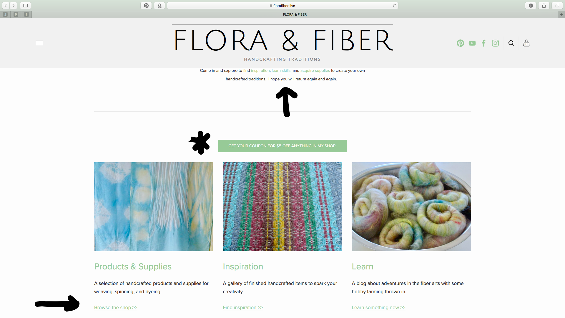 Flora & Fiber website welcome page