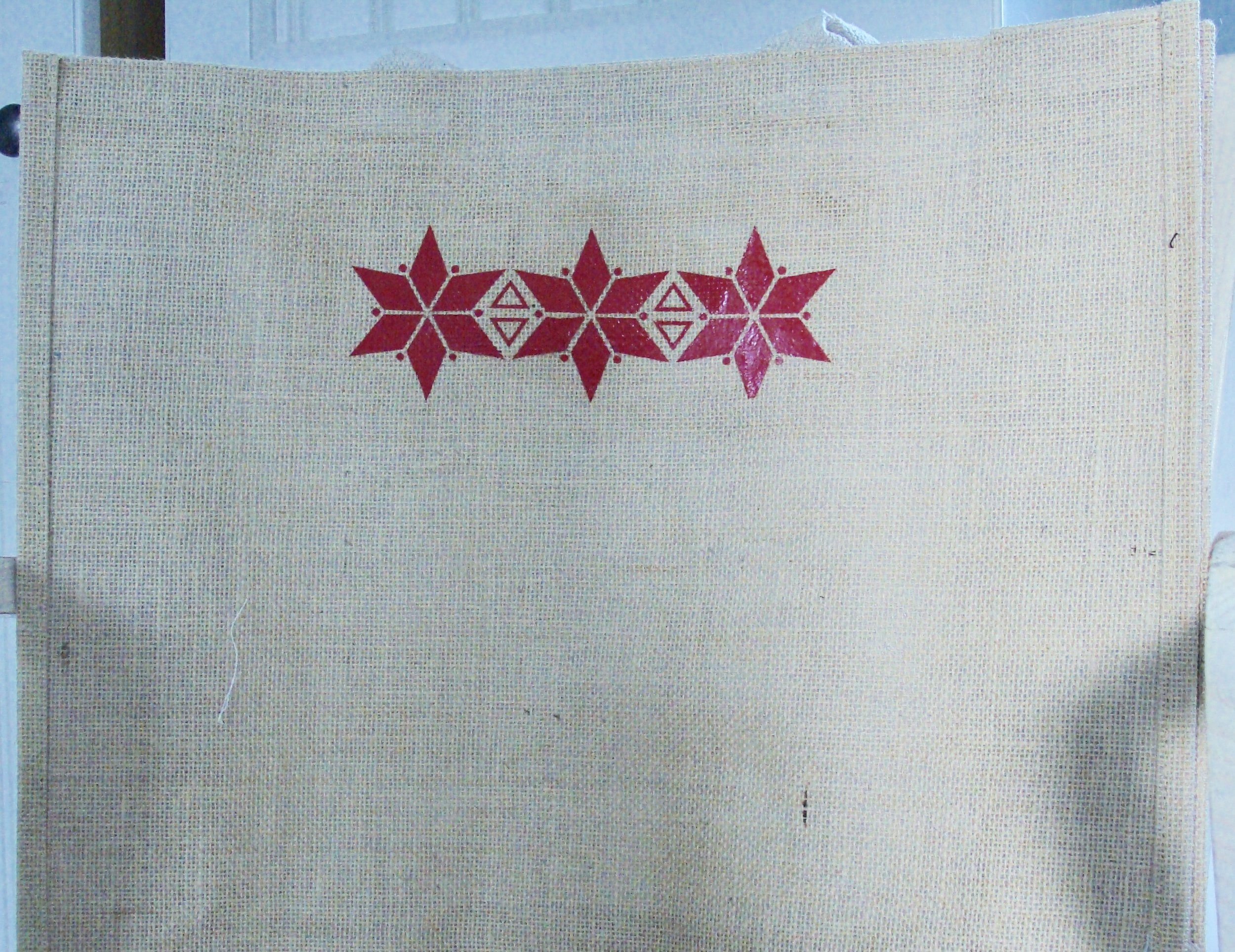 Burlap Tote Bag to hold Pillows