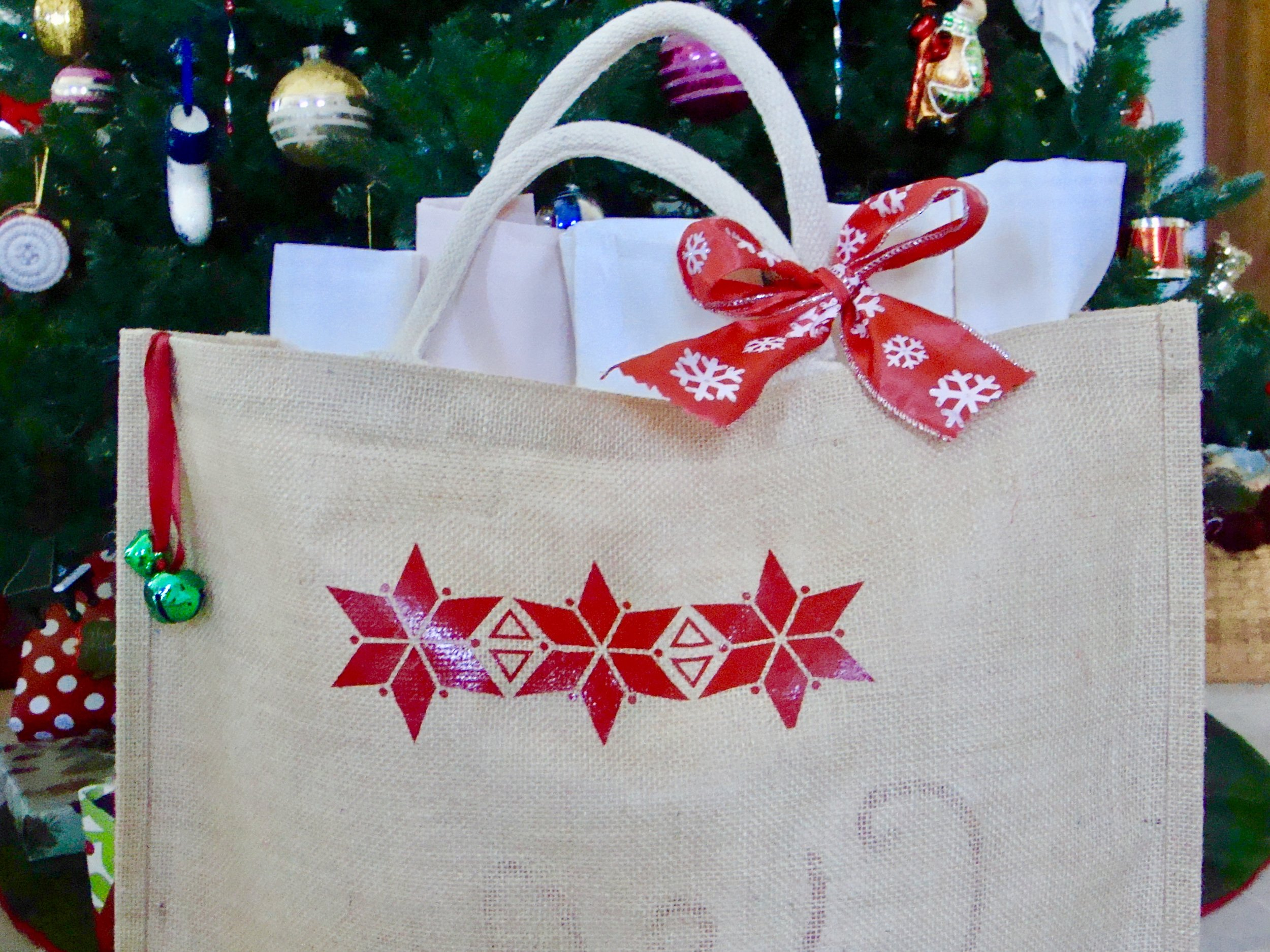Pillows packaged in Tote under the Christmas Tree