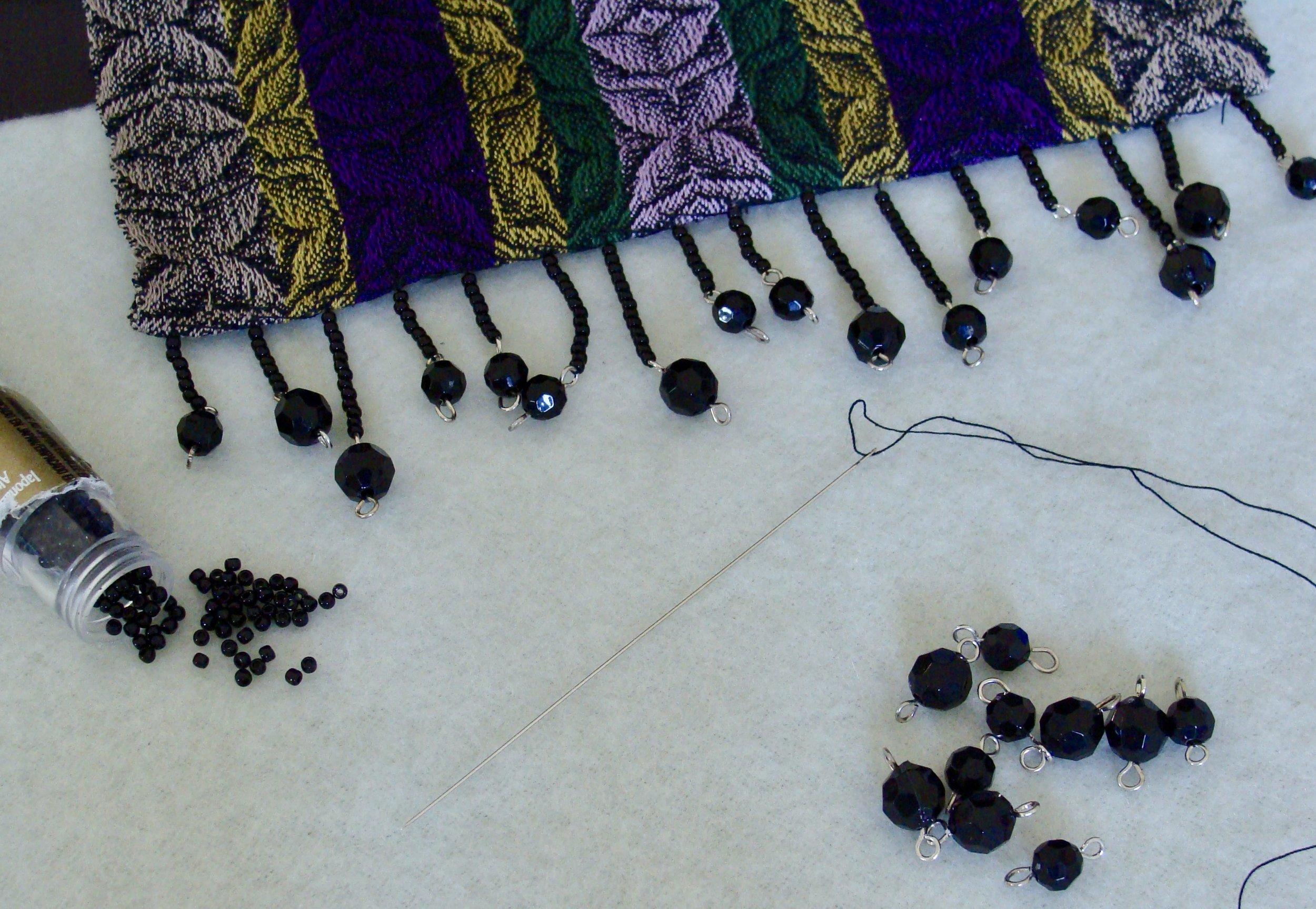 beaded fringe handwoven twill flowers scarf