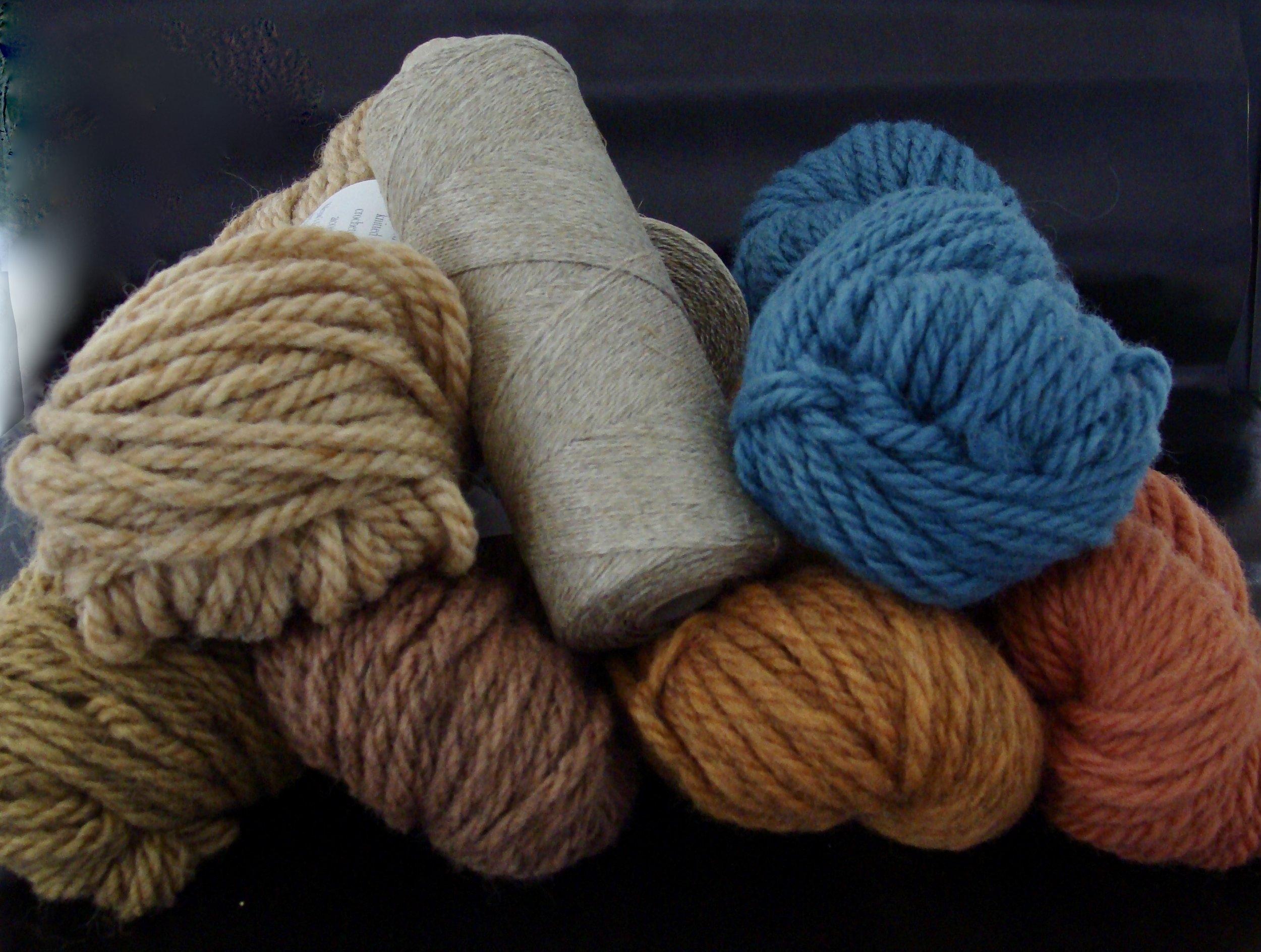 wool yarn & linen warp ready for krokbragd rug project