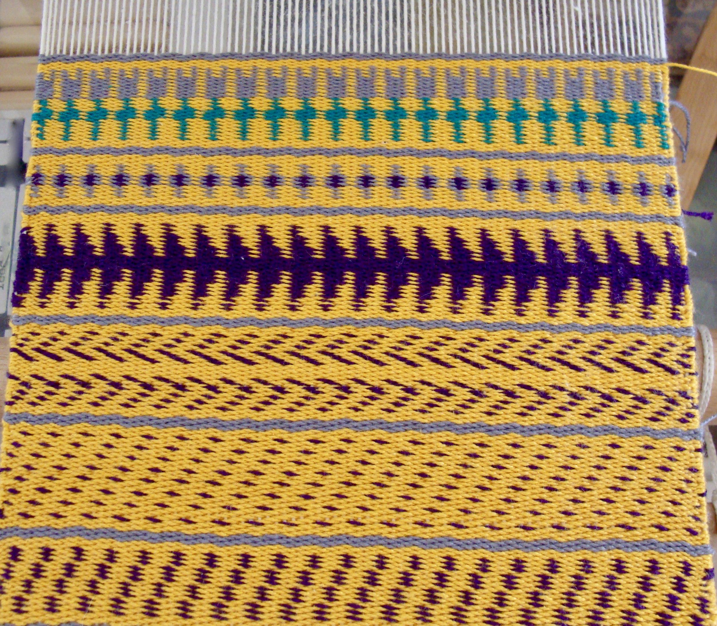 Sampler III Twill 2/2 weft faced on loom