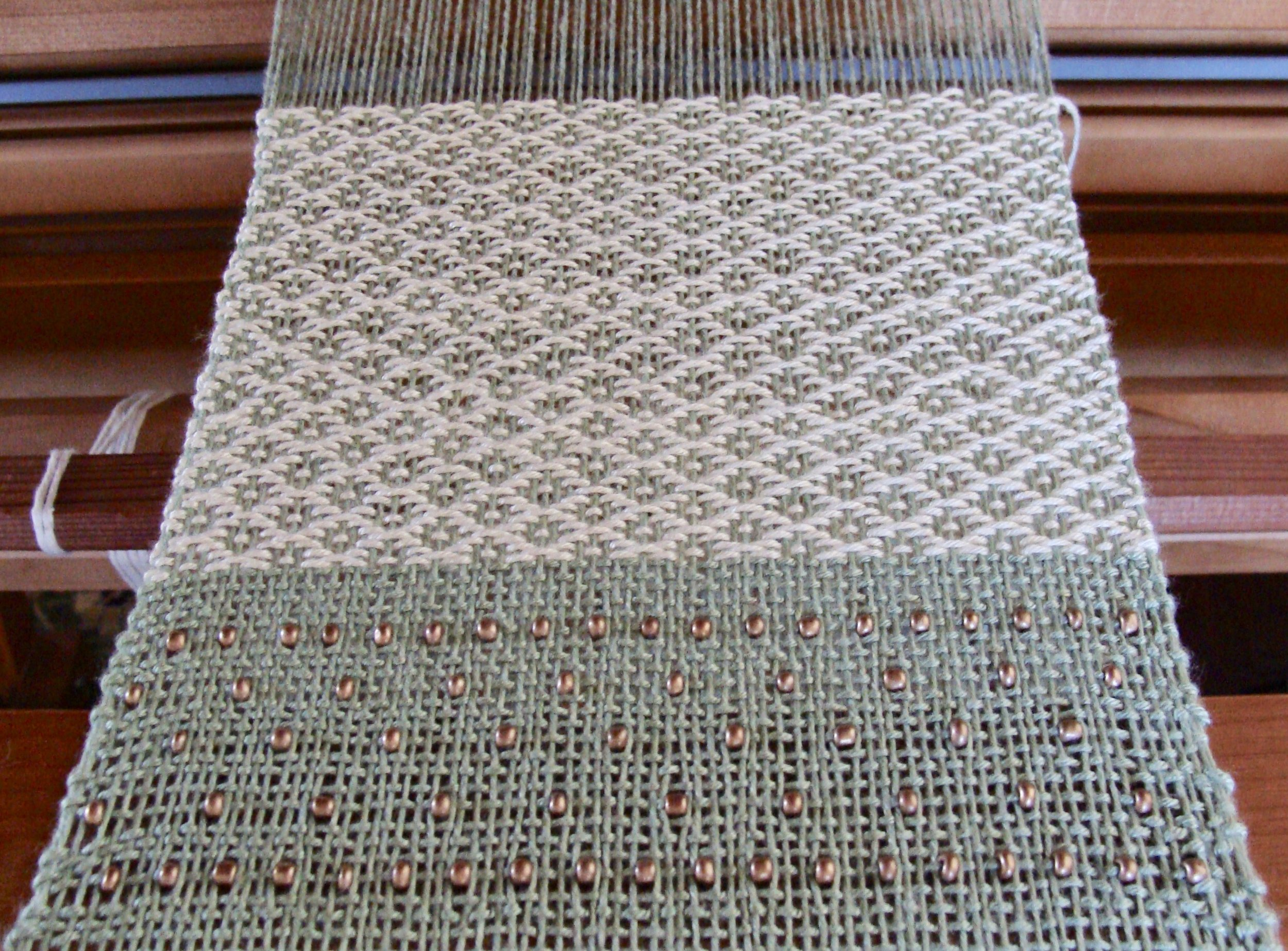 Desert Rose Path beaded scarf on loom
