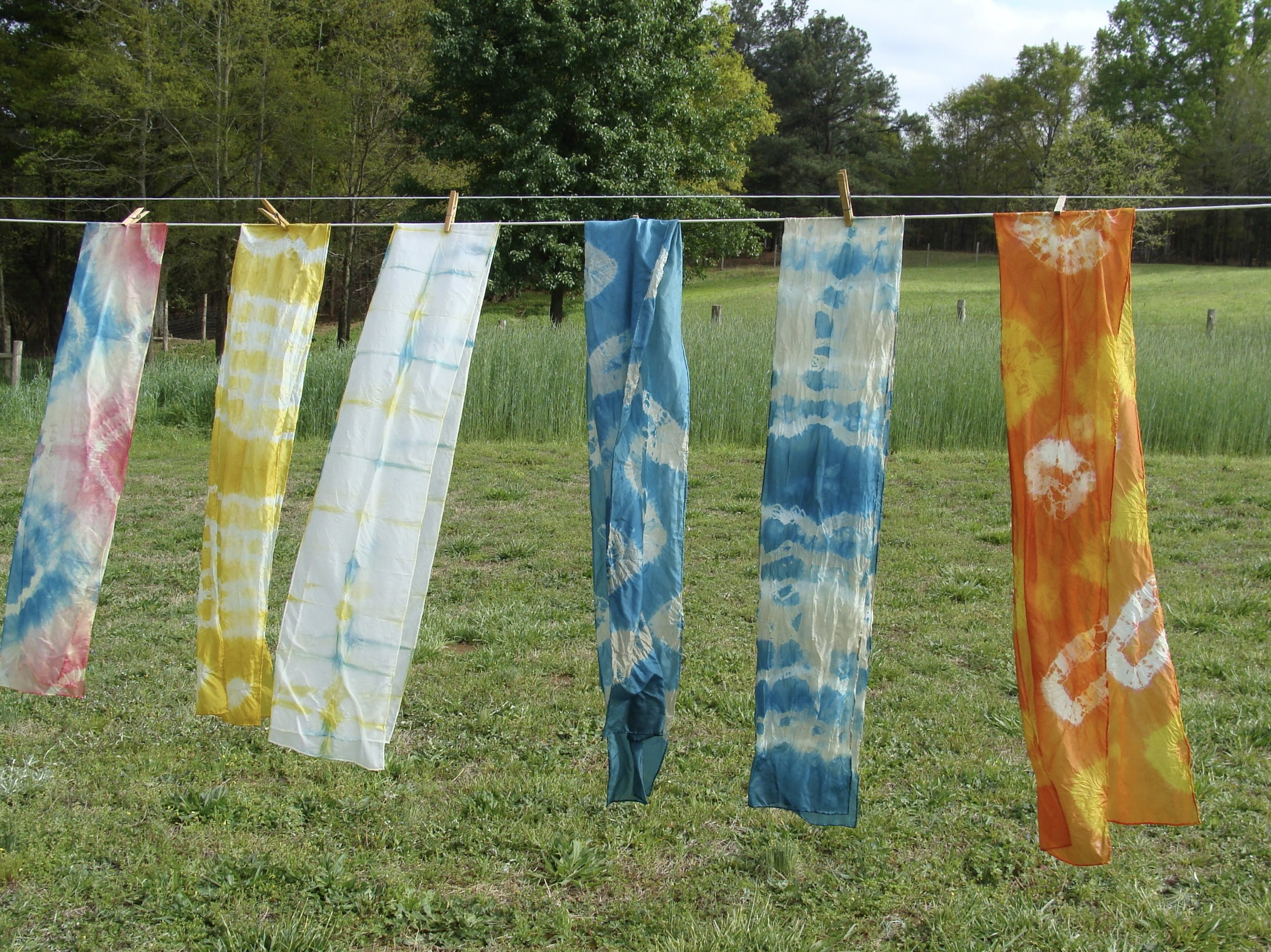 hand dyed silk scarves with natural dyes