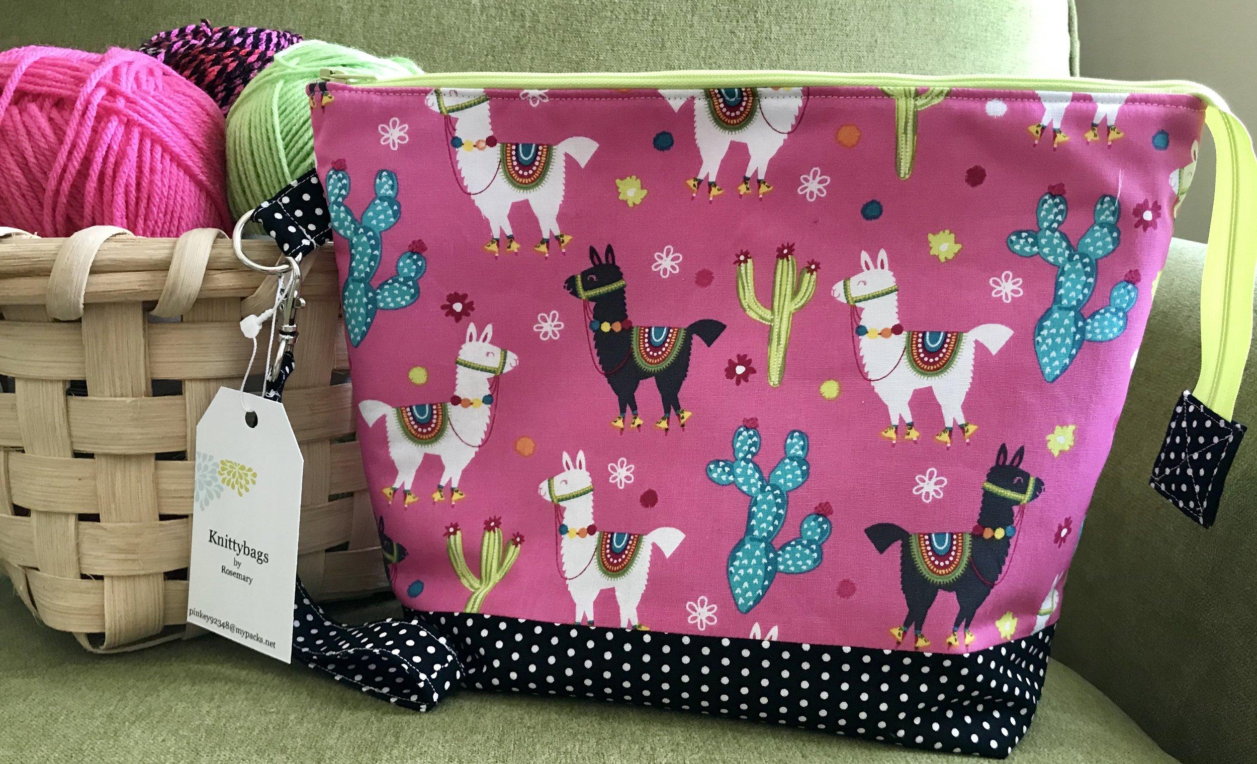 Zipper Wedge Project Bag in Fiesta Llama