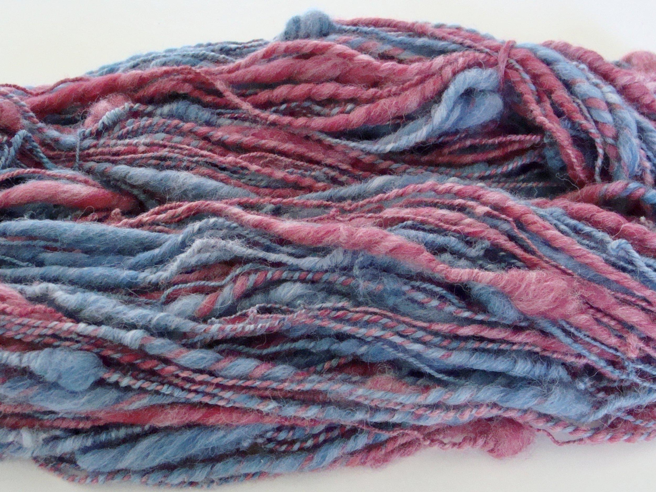 2 ply handspun thick and thin yarn alpaca merino blend