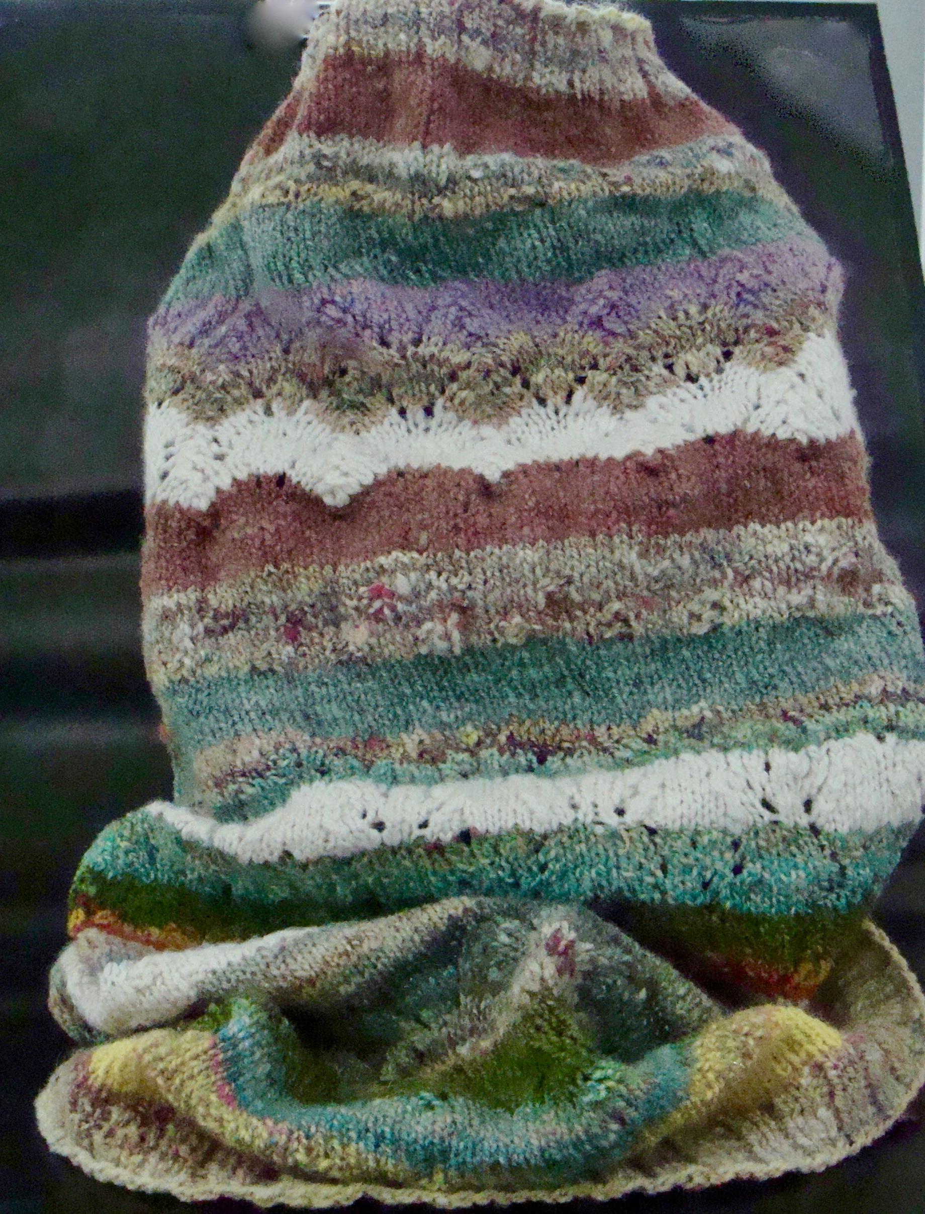 hand knit Land of Sweets Cowl with handspun yarn
