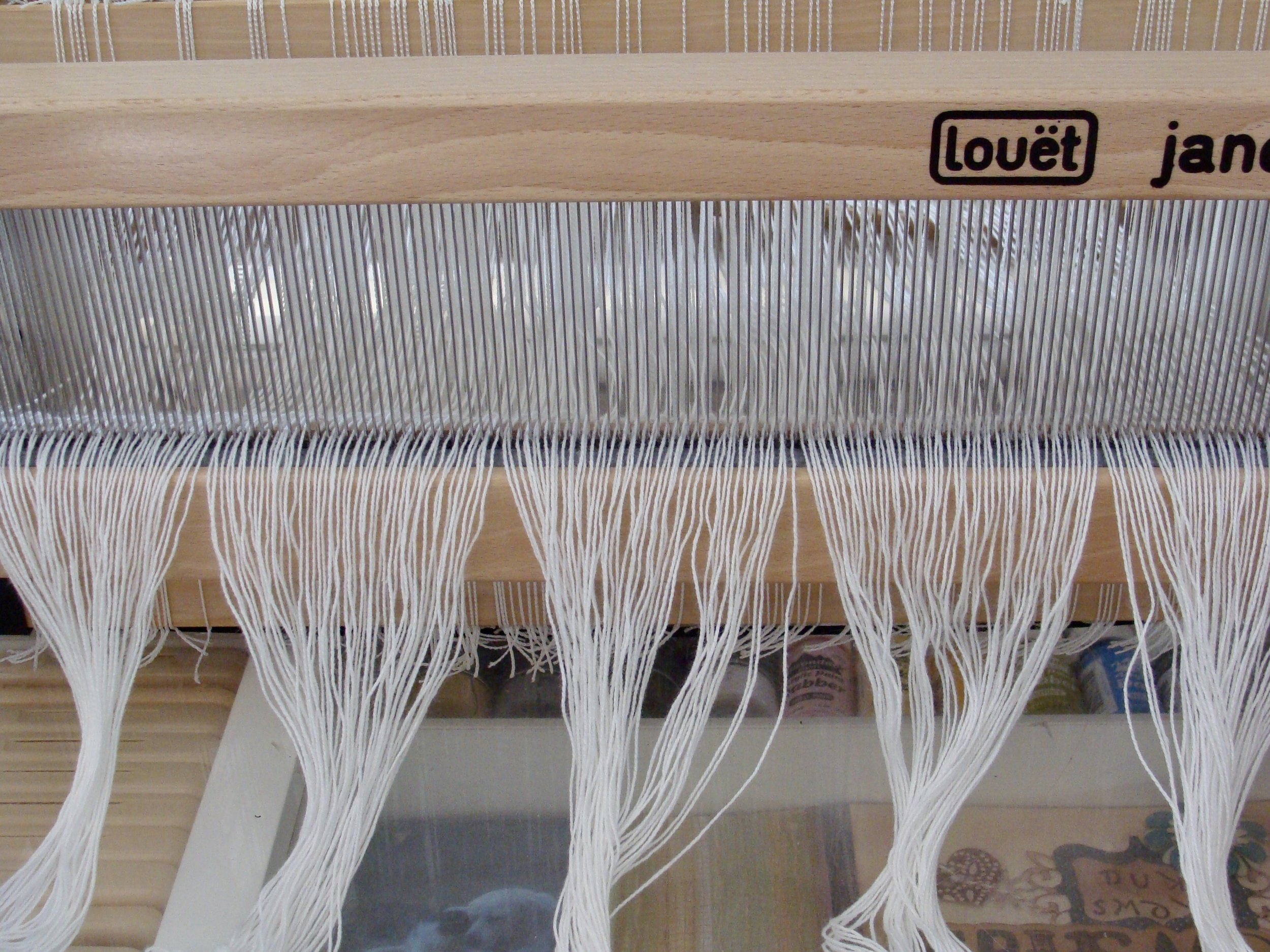 sleying the warp in the reed Louet Jane