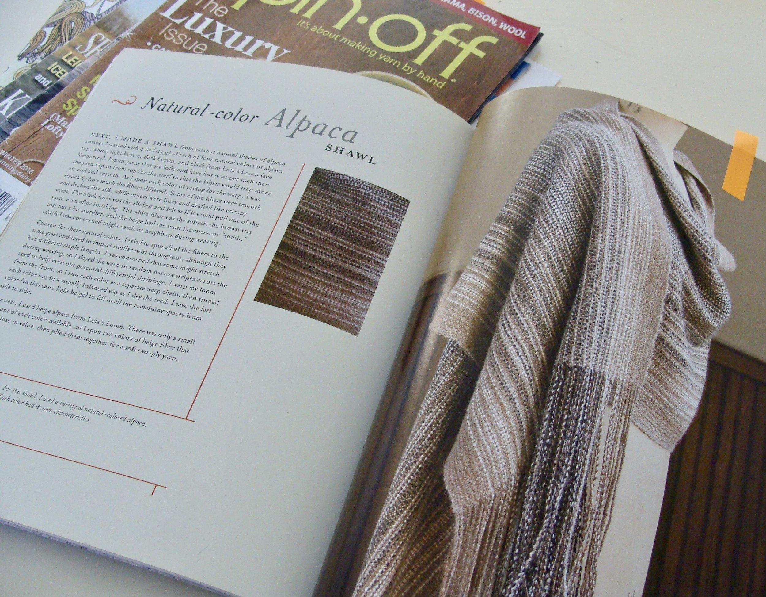 Planned hand-spun, handwoven alpaca shawl