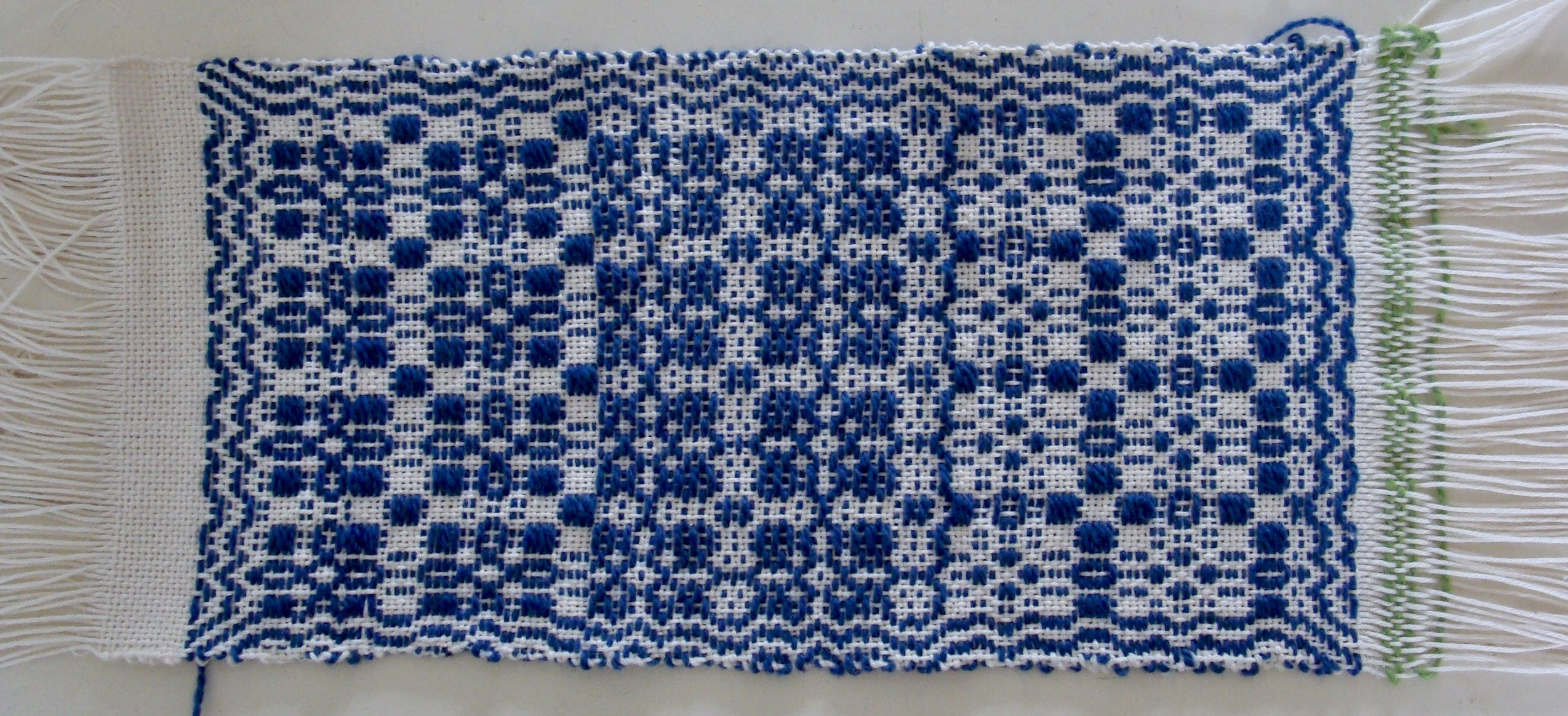unfinished woven overshot sampler