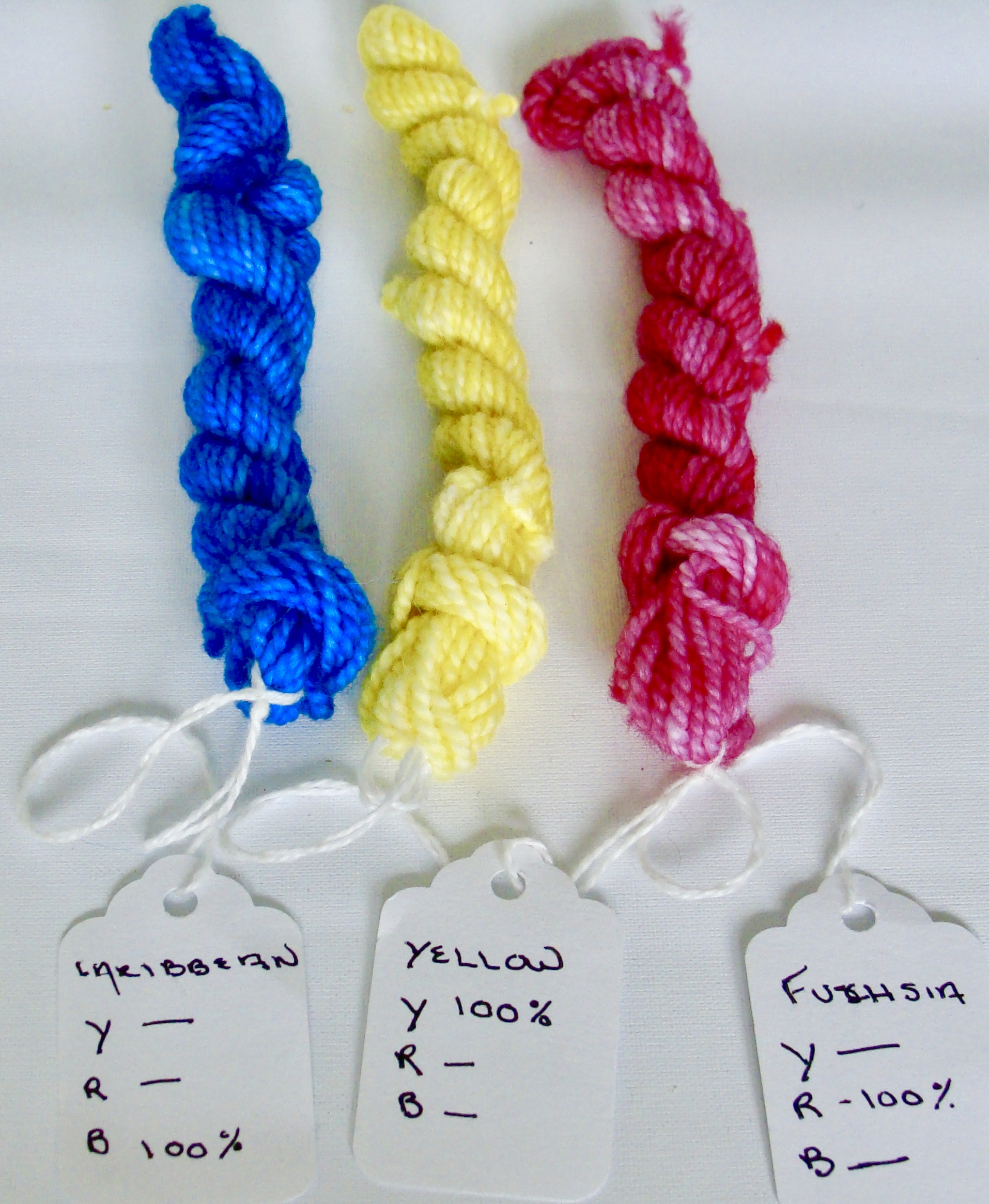 dyed wool in primary colors