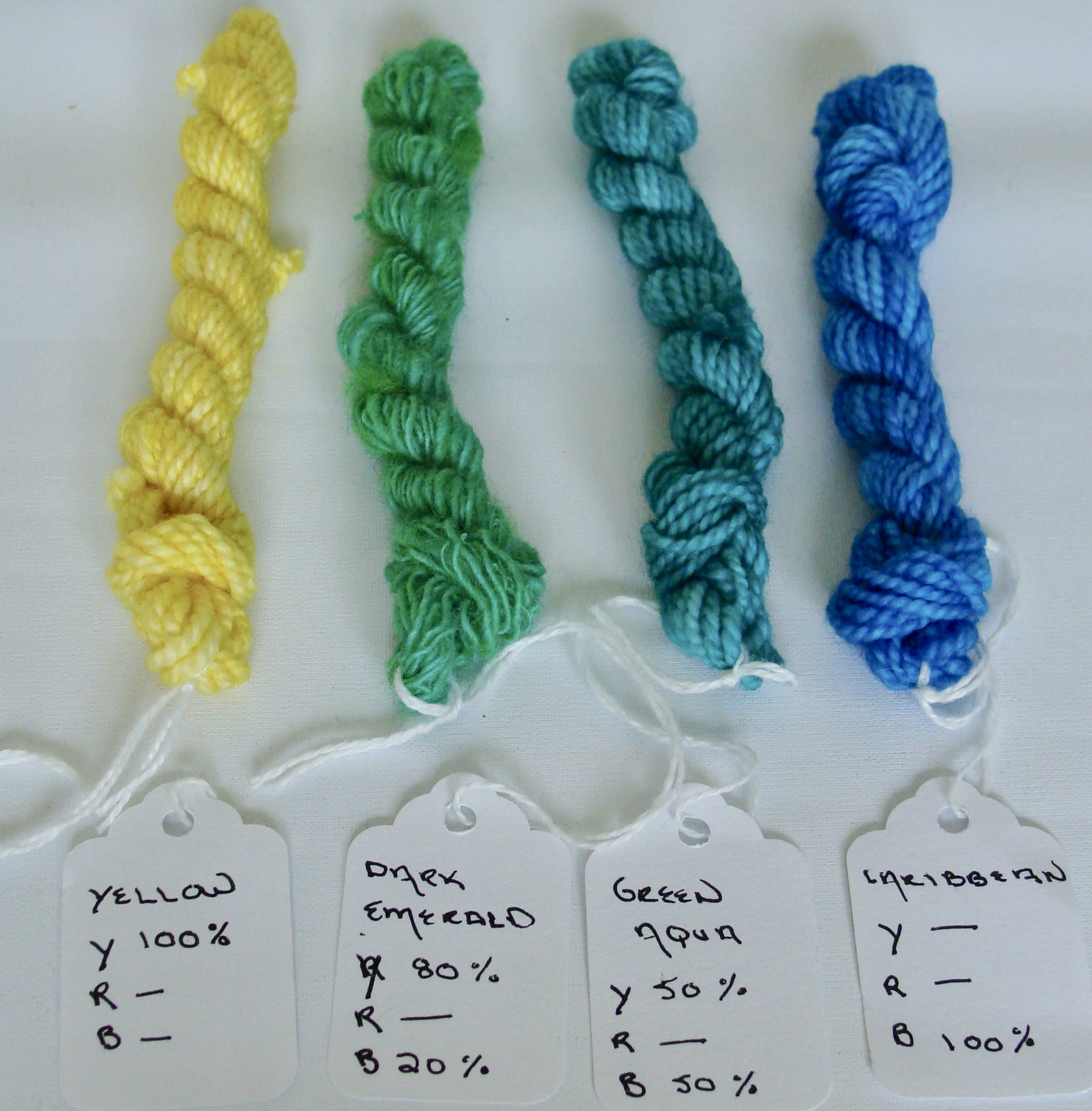 mixing yellow & blue dyes