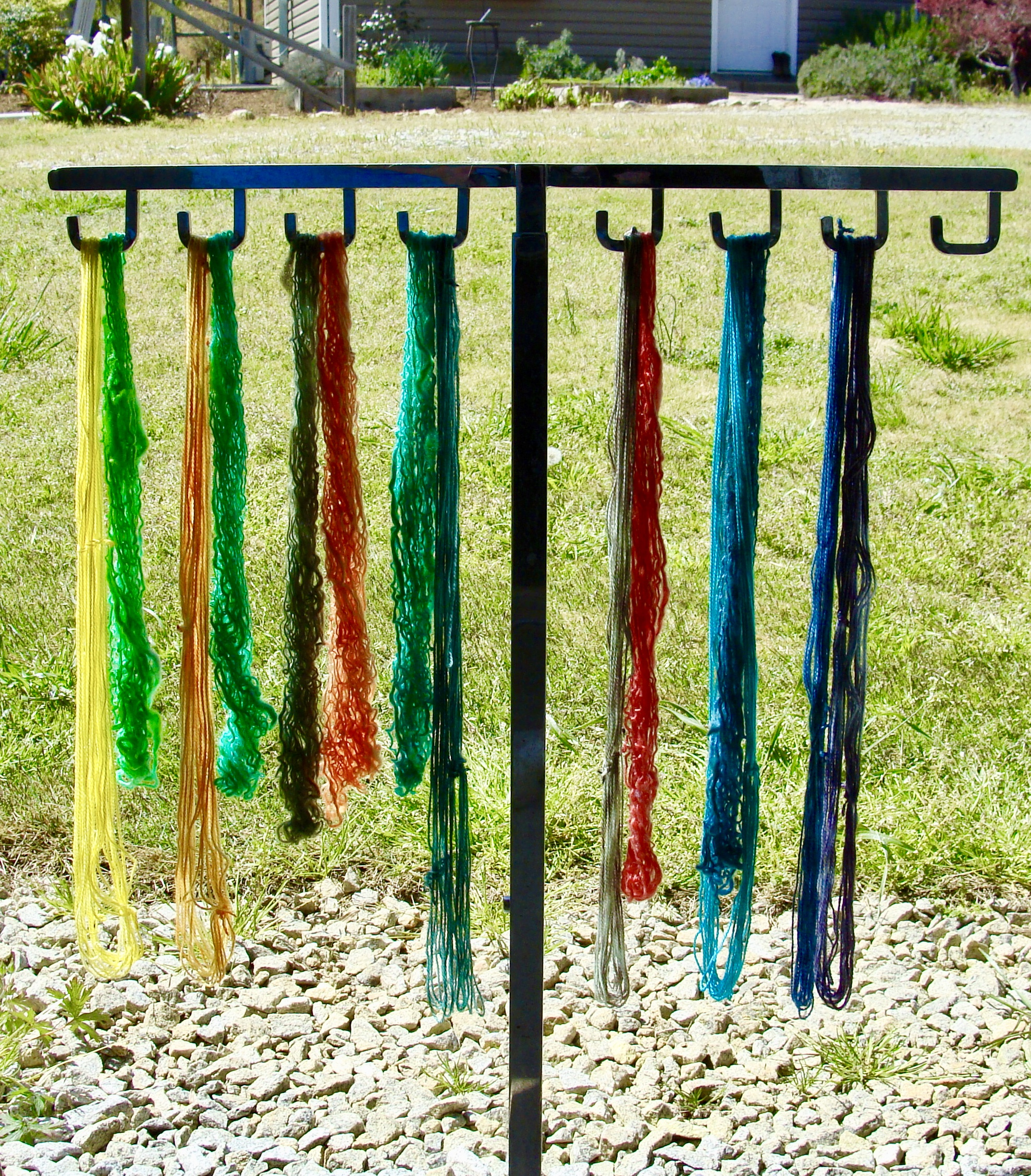 dyed mini skeins drying