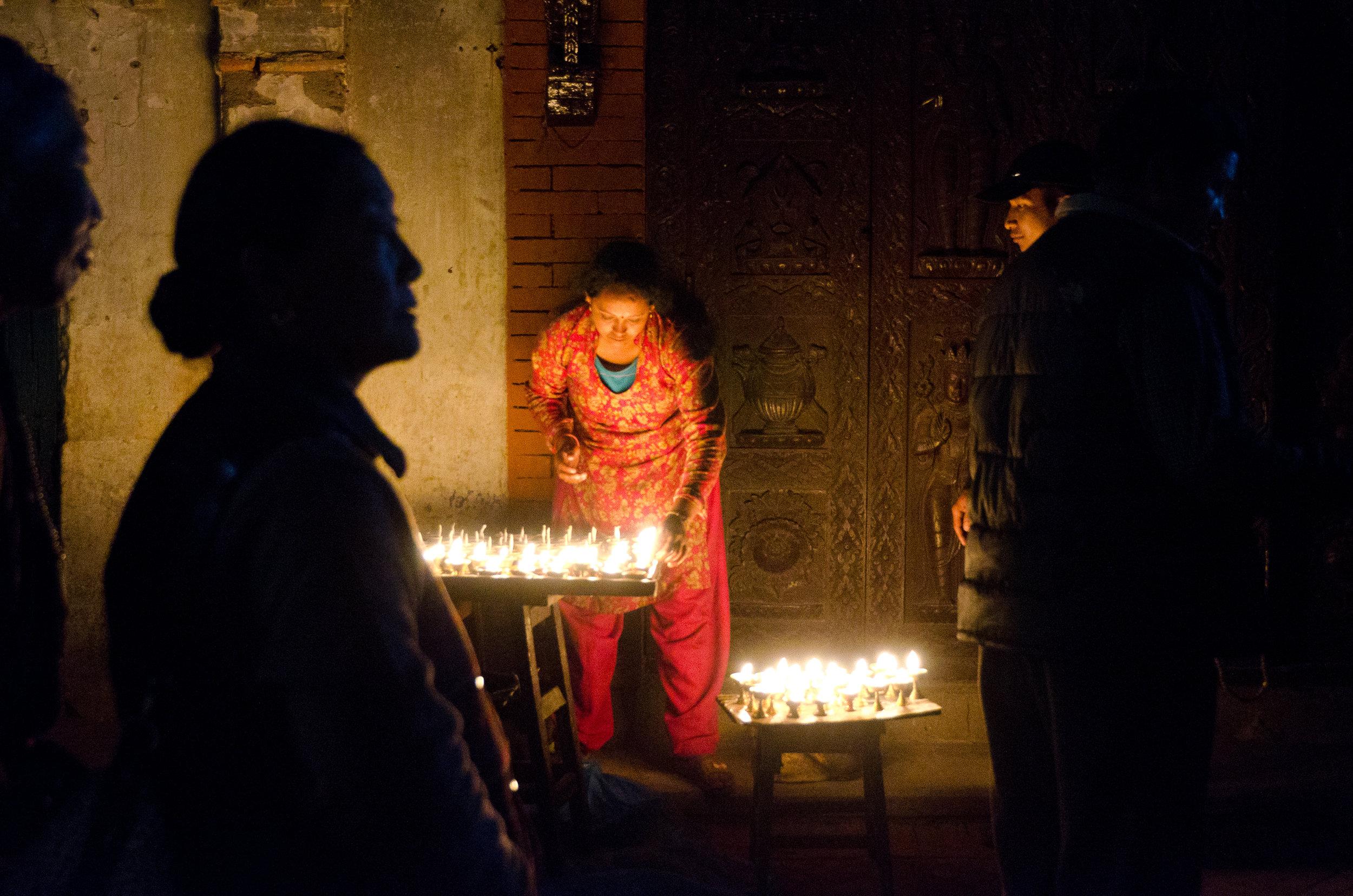 devotional Butter lamps at the boudha stupa, kathmandu, nepal