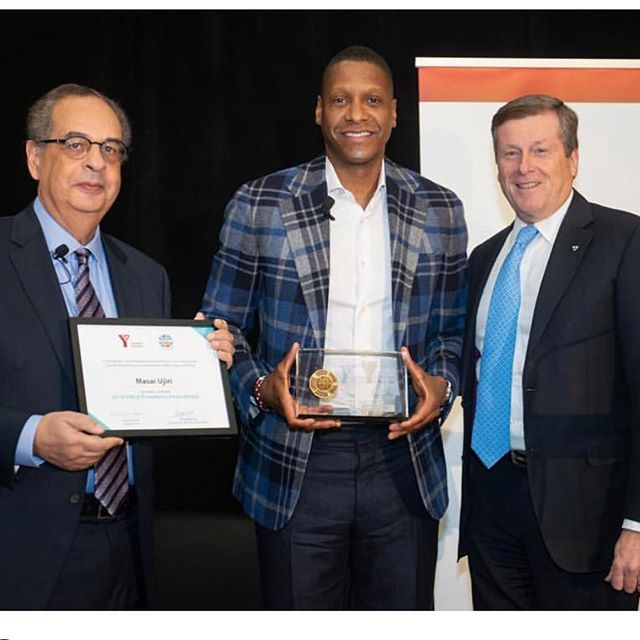 This week, @raptors president Masai Ujiri was the recipient of the @ymcagta President's Peace Medal.  Masai Ujiri helps youth find their voice, their community and sense of leadership both here in Canada and abroad through his charity @giantsofafrica. . . He inspires us to make a difference and get involved. . . . Congratulations to the two other recipients @tpswiftd & @loizzaaquino who are promoting peace and encouraging youth to talk about mental health. If you're interested in making a difference, become a Game Changer today in support of @mlsefoundation & @mlselaunchpad #changethegame