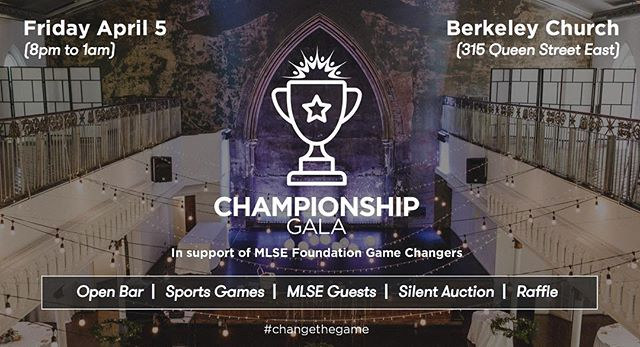 MLSE Foundation Game Changers proudly presents Championship Gala 2019 🏆 in support of MLSE Foundation and MLSE Launchpad. Tickets link in Bio! . . . Championship Gala (formerly known as Toronto Plays) will be hosted in the beautiful Berkeley Church on Friday, April 5, 2019. Come celebrate with us, meet special guests from MLSE and compete in a variety of sports games with friends and MLSE athletes, all in support of MLSE LaunchPad. . . #changethegame #mlse #mlsefoundation #mlsefoundationgamechangers #mlselaunchpad #toronto #torontosports