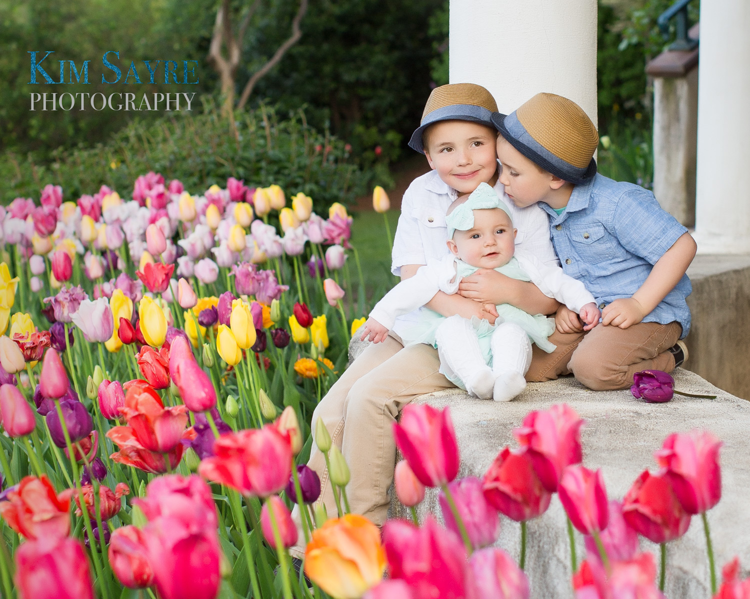 Carson, Gracie and Cade - Portraits in the Spring tulips!