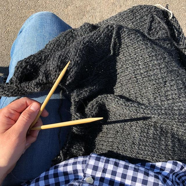 When your knitting WIP is a 100% wool sweater but it's 70 degrees out 😅 #weekendswoncho