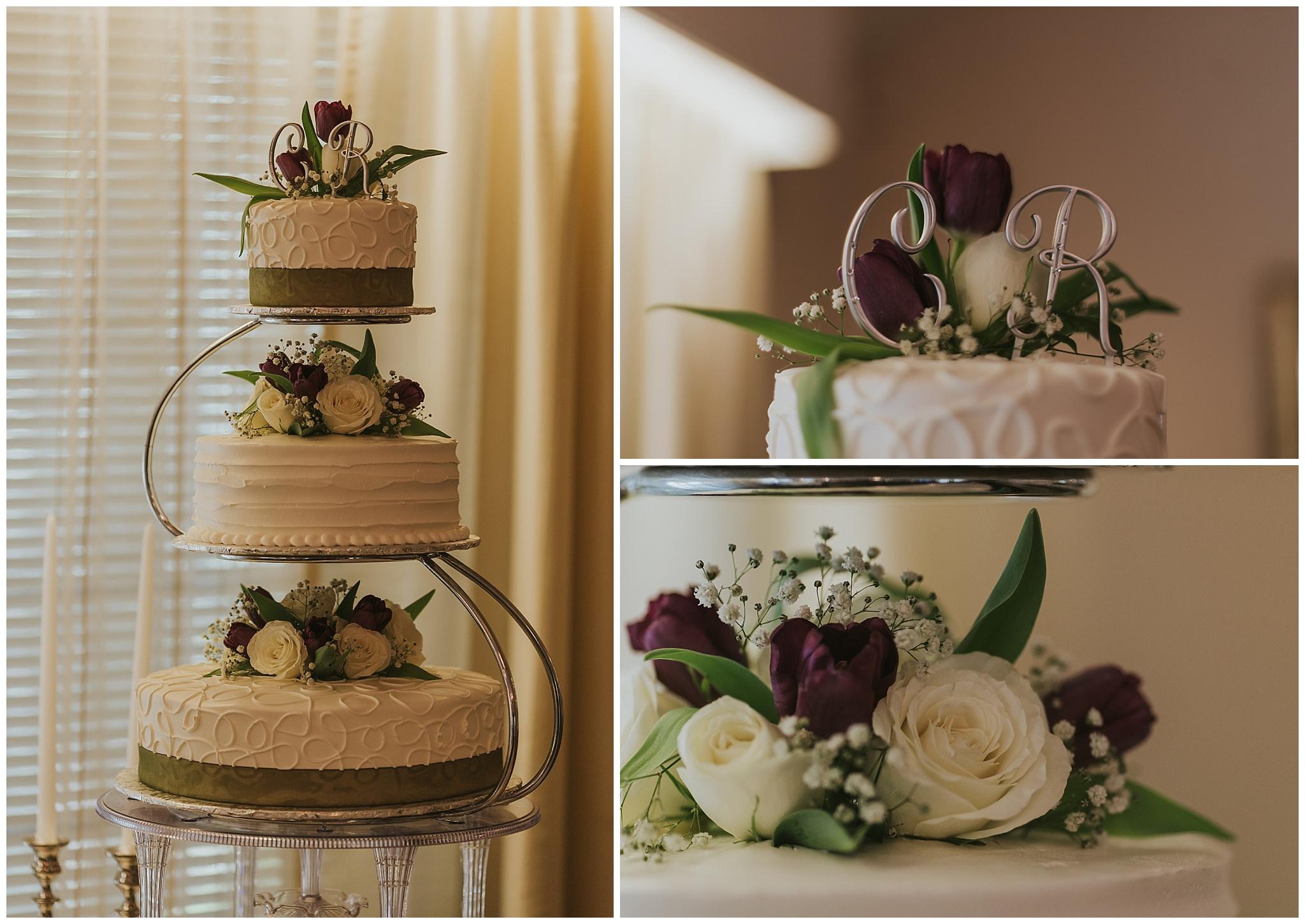 three tier wedding cake with detail shots