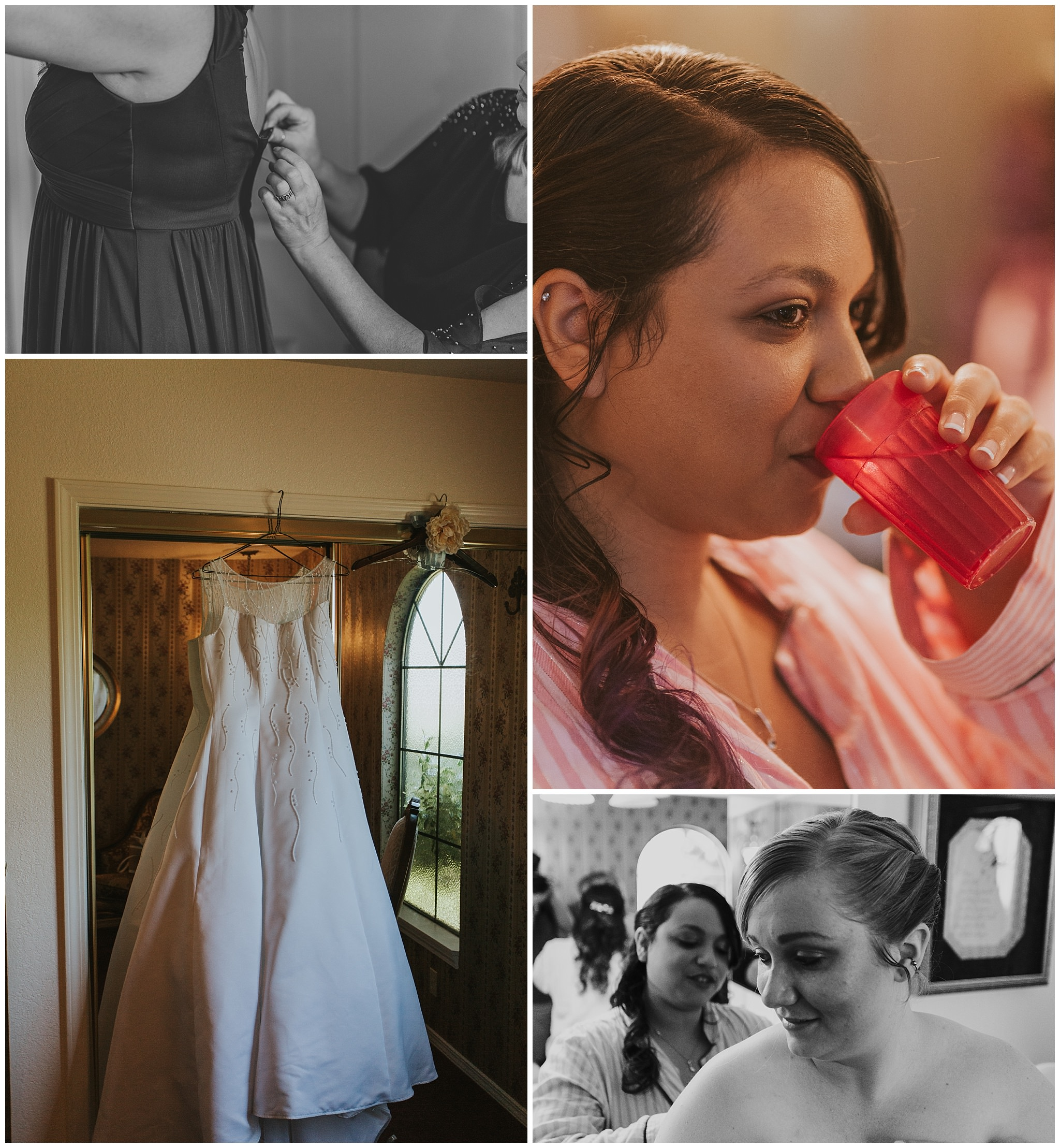 bride and bridesmaid getting ready for wedding