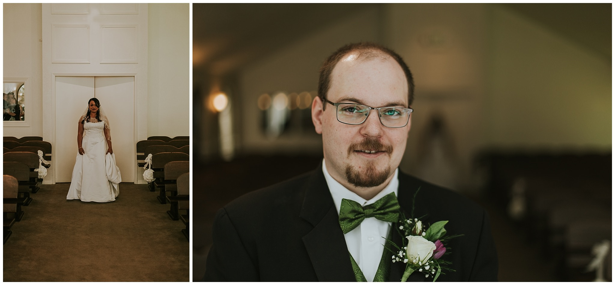 bride and groom in hostess house chapel during first look
