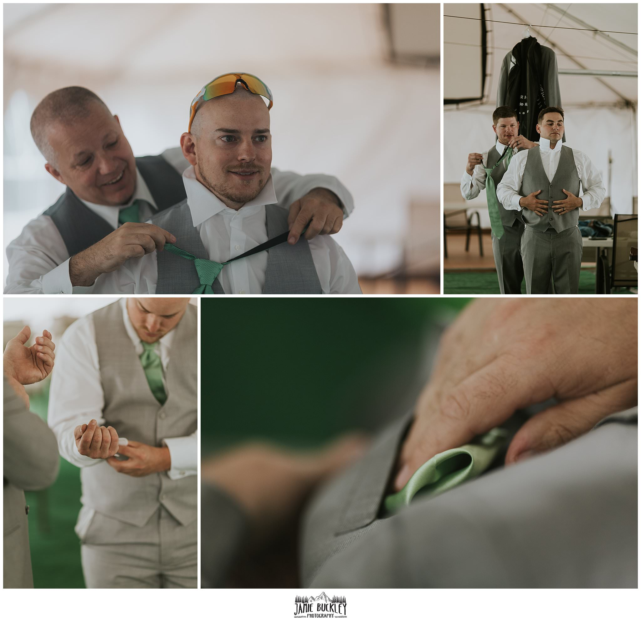 male wedding party getting ready