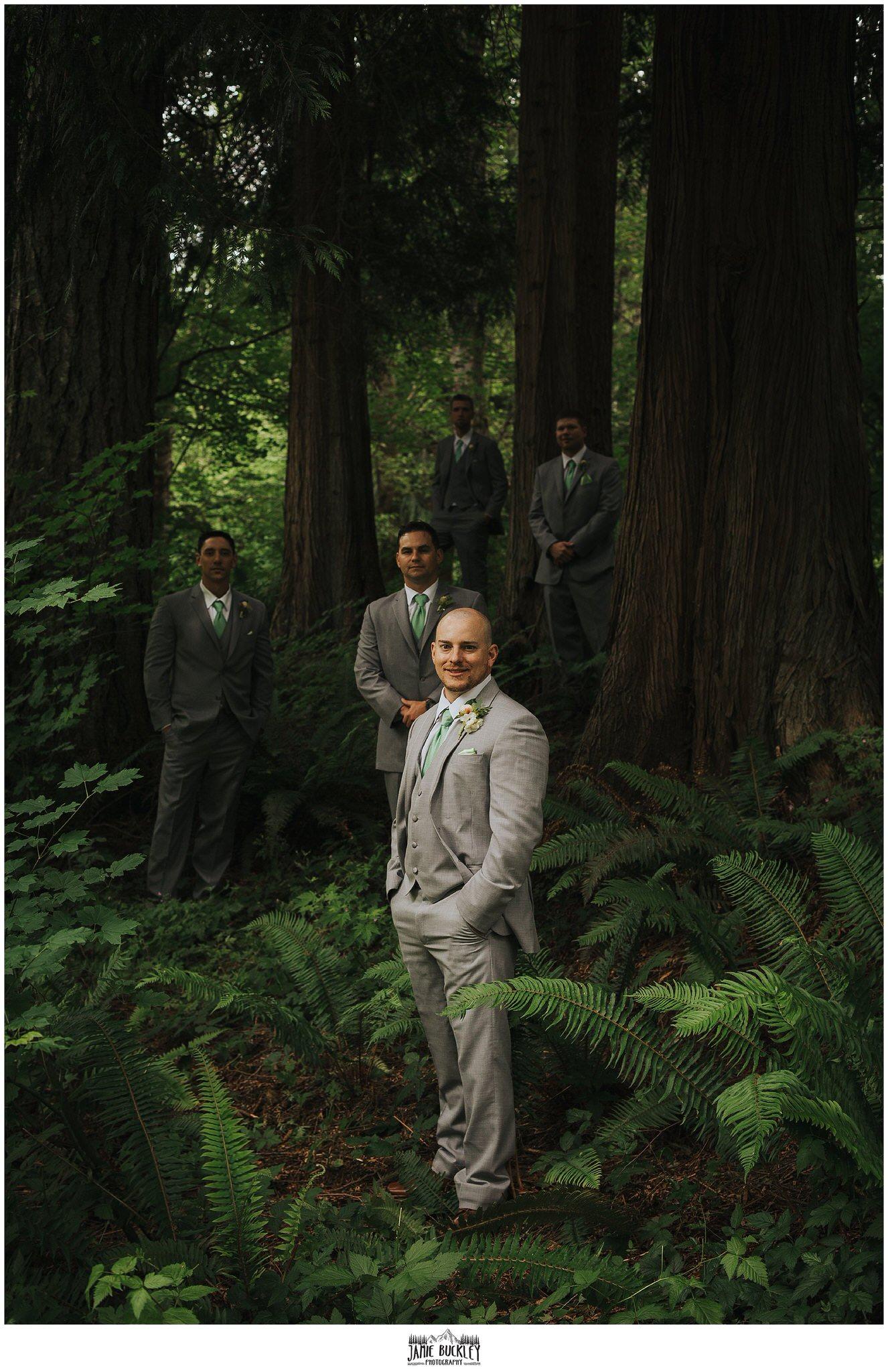 groom and groomsmen in trees before wedding
