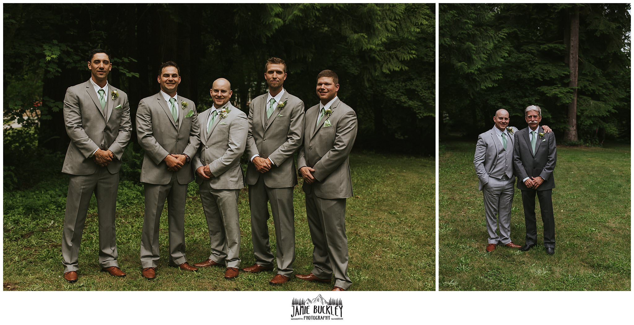 groomsmen and groom and father