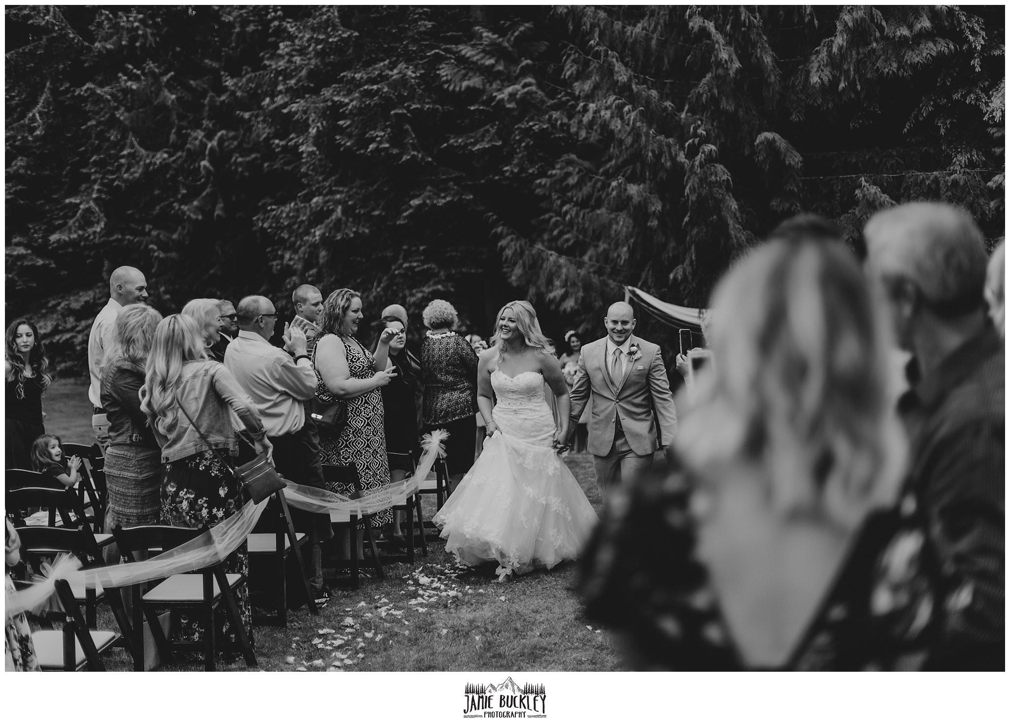 wedding ceremony exit of bride and groom