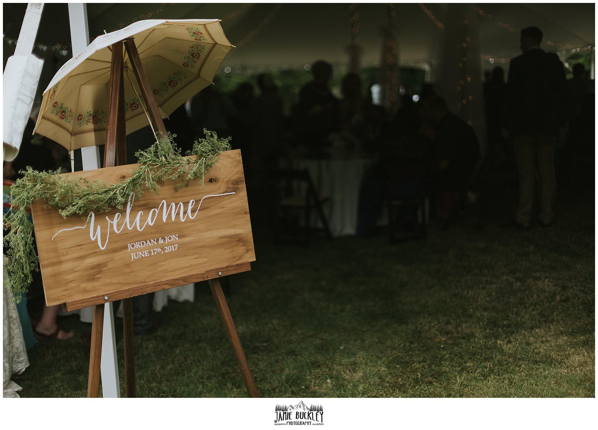 wedding sign close up