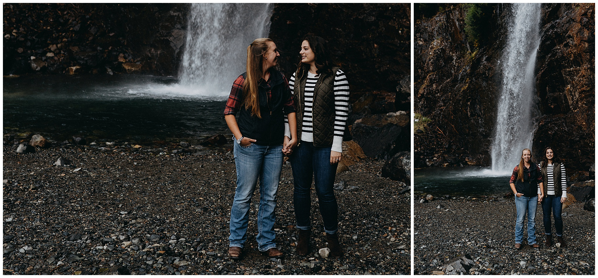 two brides to be in front of Franklin falls
