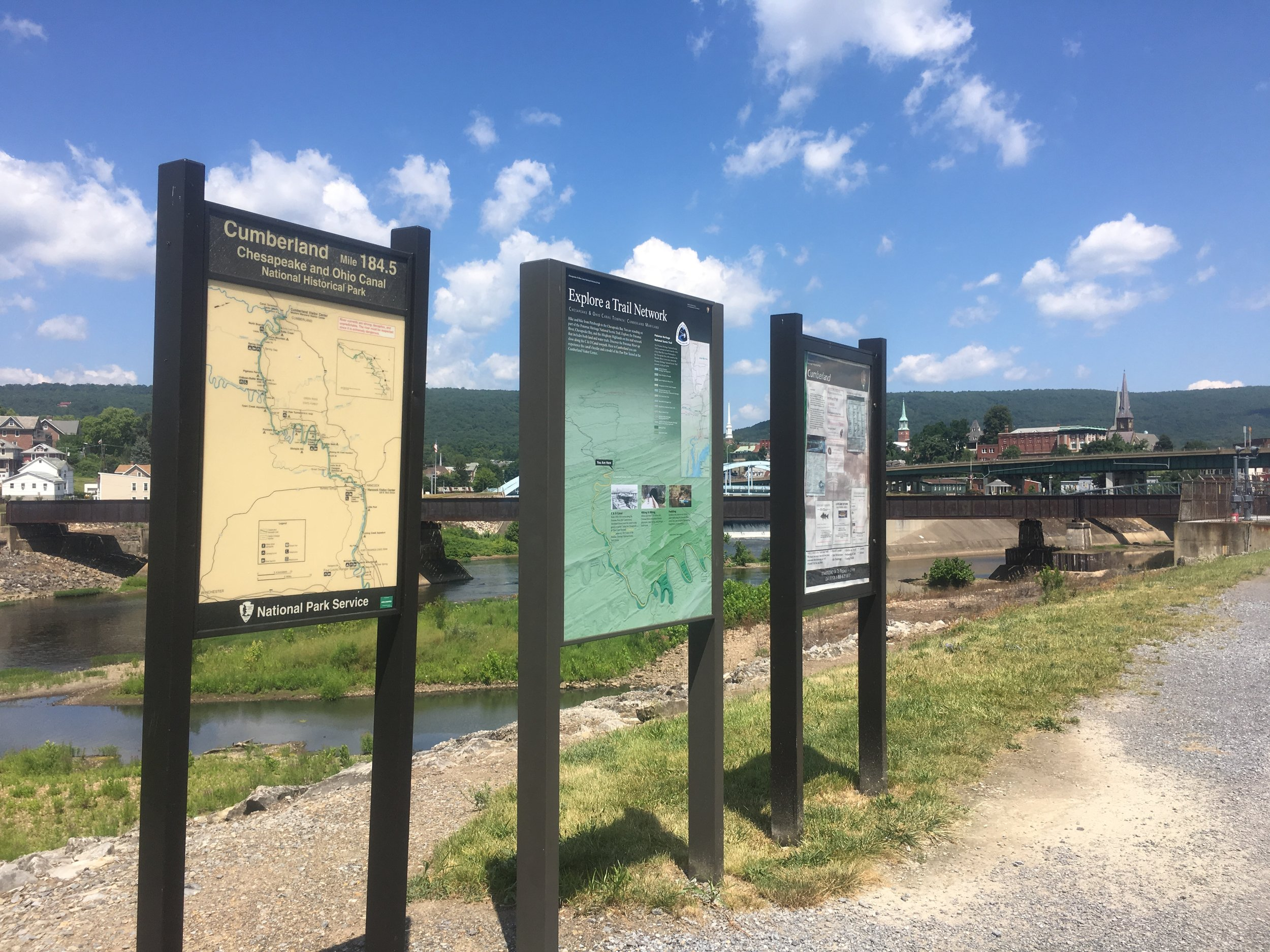 Cumberland, Maryland the end of the C&O Canal Trail and the beginning of the Great Allegheny Passage
