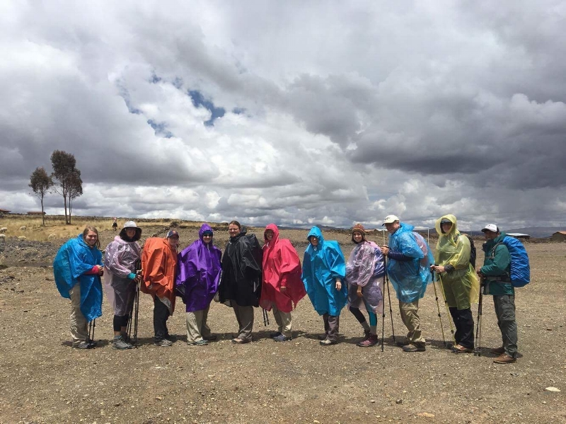 Lined up in our rain gear and ready for the journey ahead